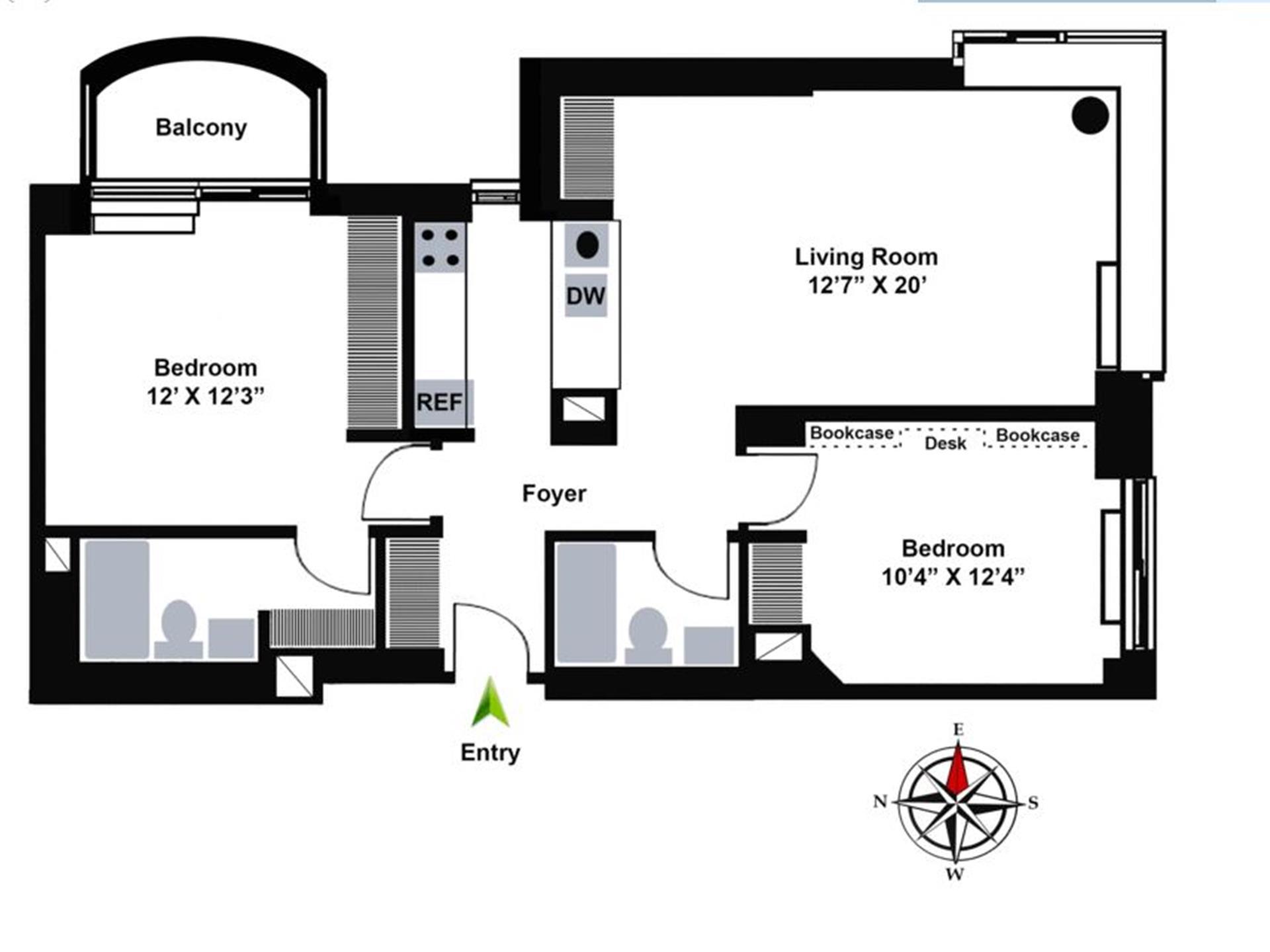 Floor plan of 157 East 32nd St, 22B - Murray Hill, New York