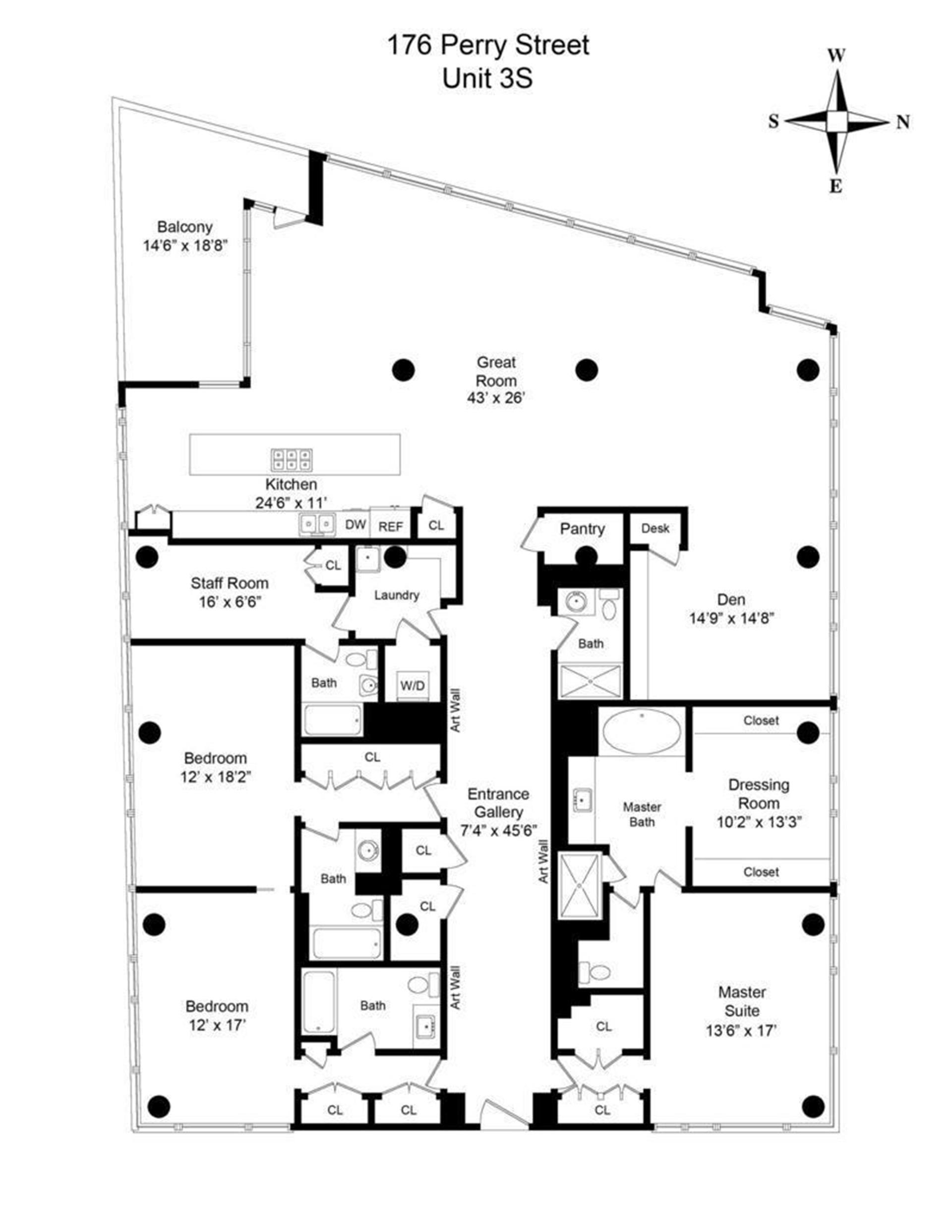 Floor plan of 176 Perry St, 3S - West Village - Meatpacking District, New York