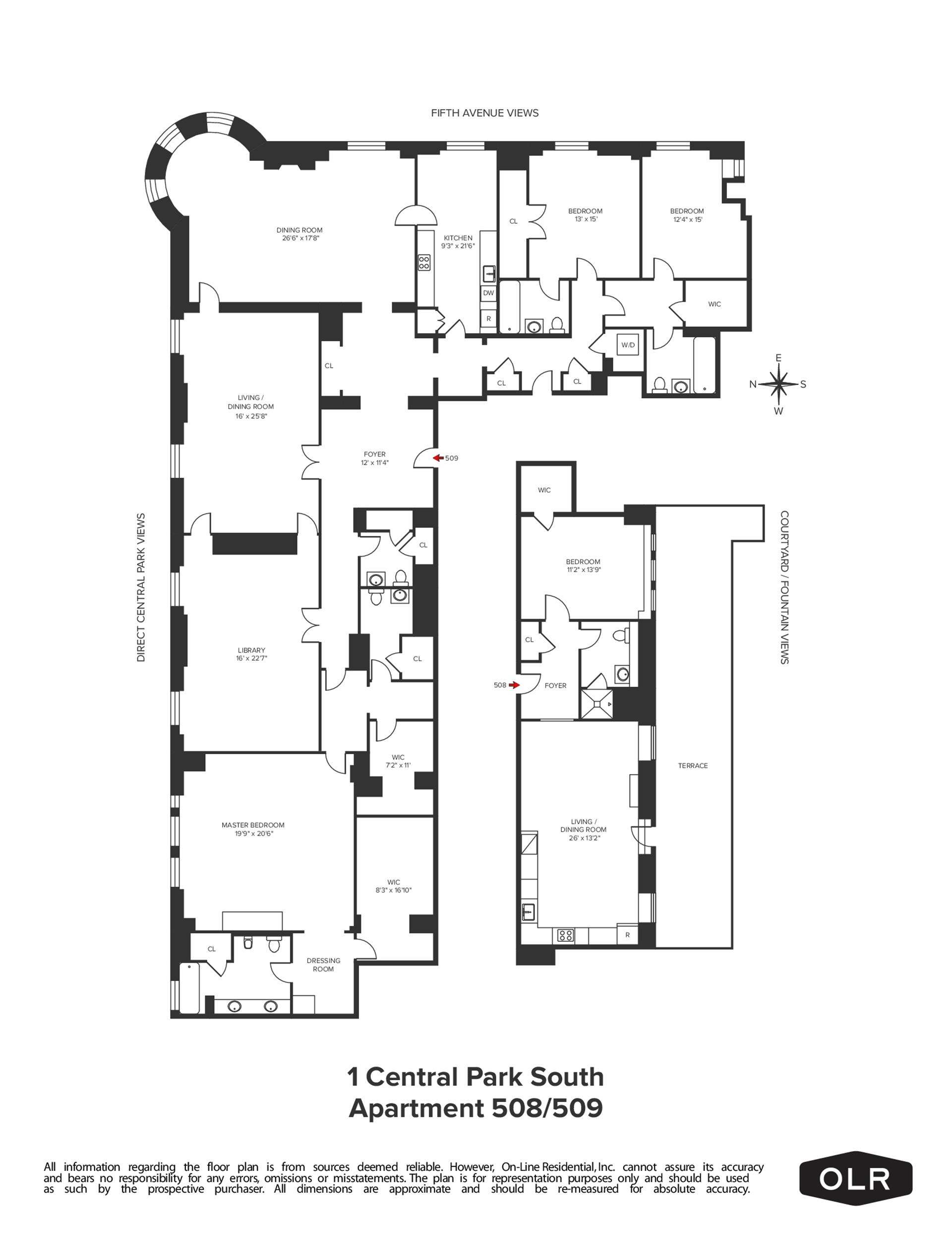 Floor plan of The Plaza Residences, 1 Central Park South, 508509 - Central Park South, New York