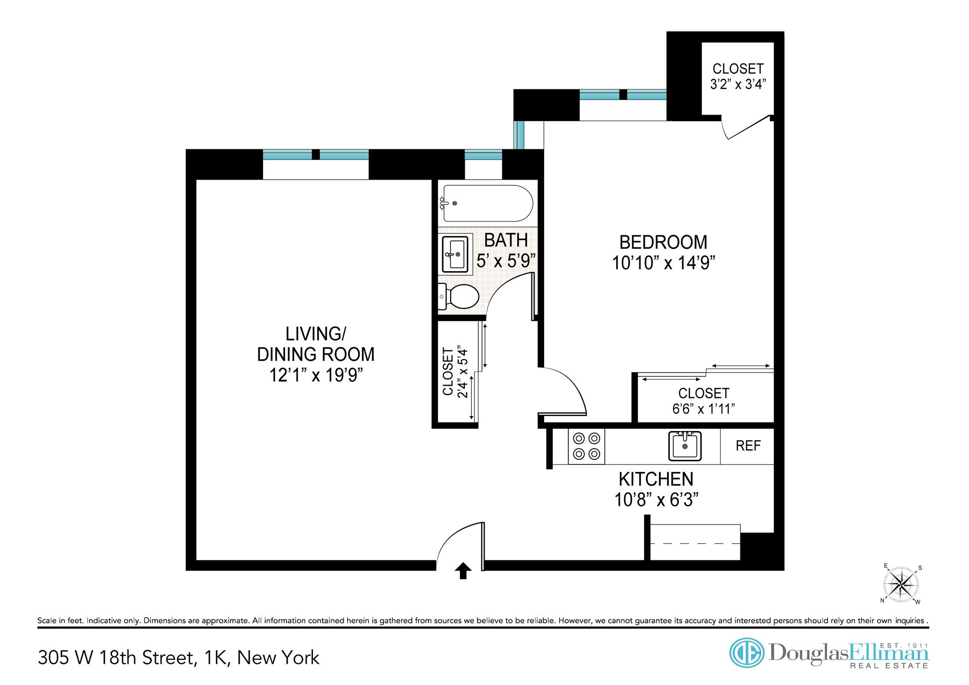 Floor plan of 305 West 18th St, 1K - Chelsea, New York
