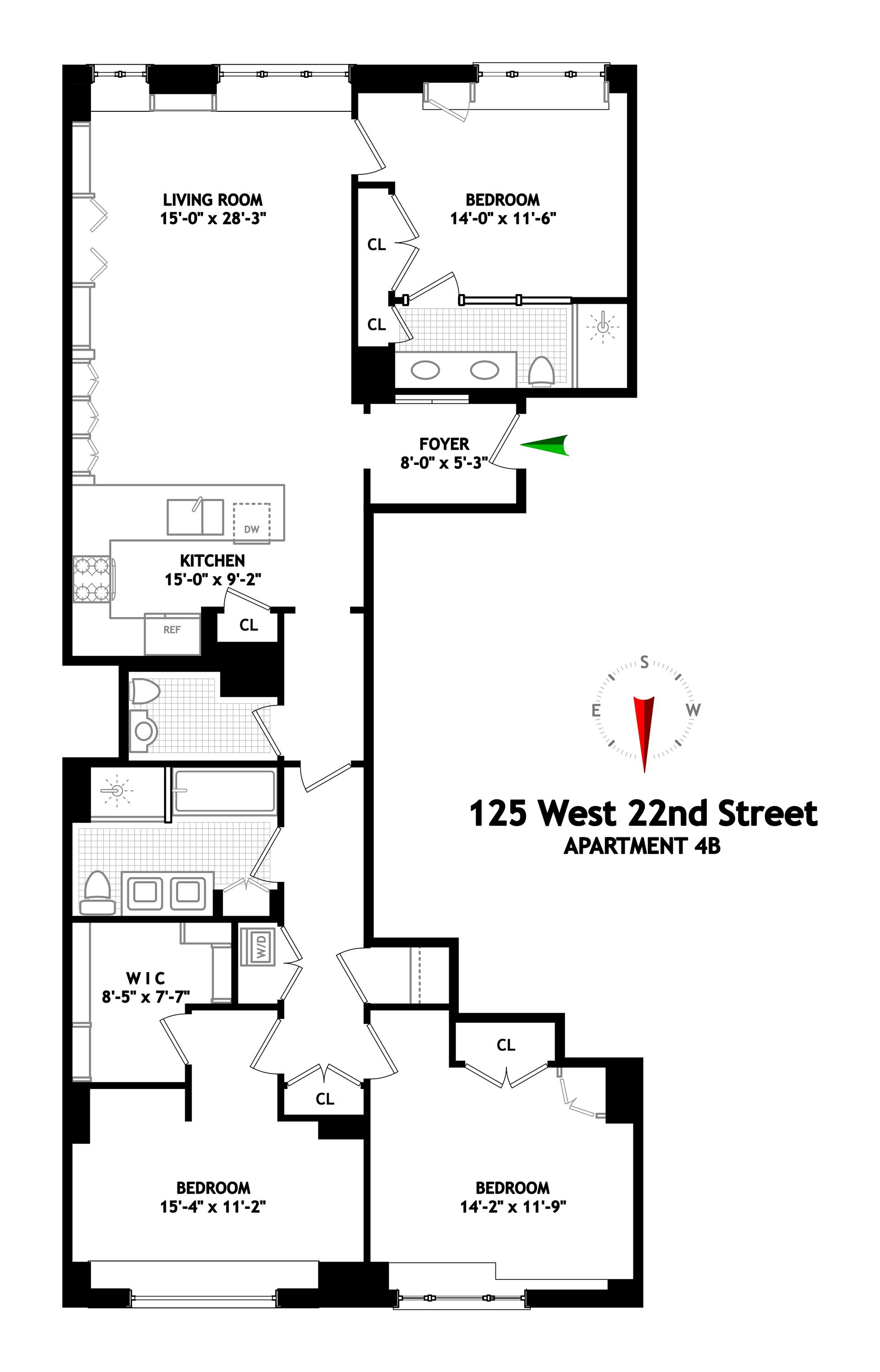 Floor plan of VERDE CHELSEA, 125 West 22nd St, 4B - Chelsea, New York