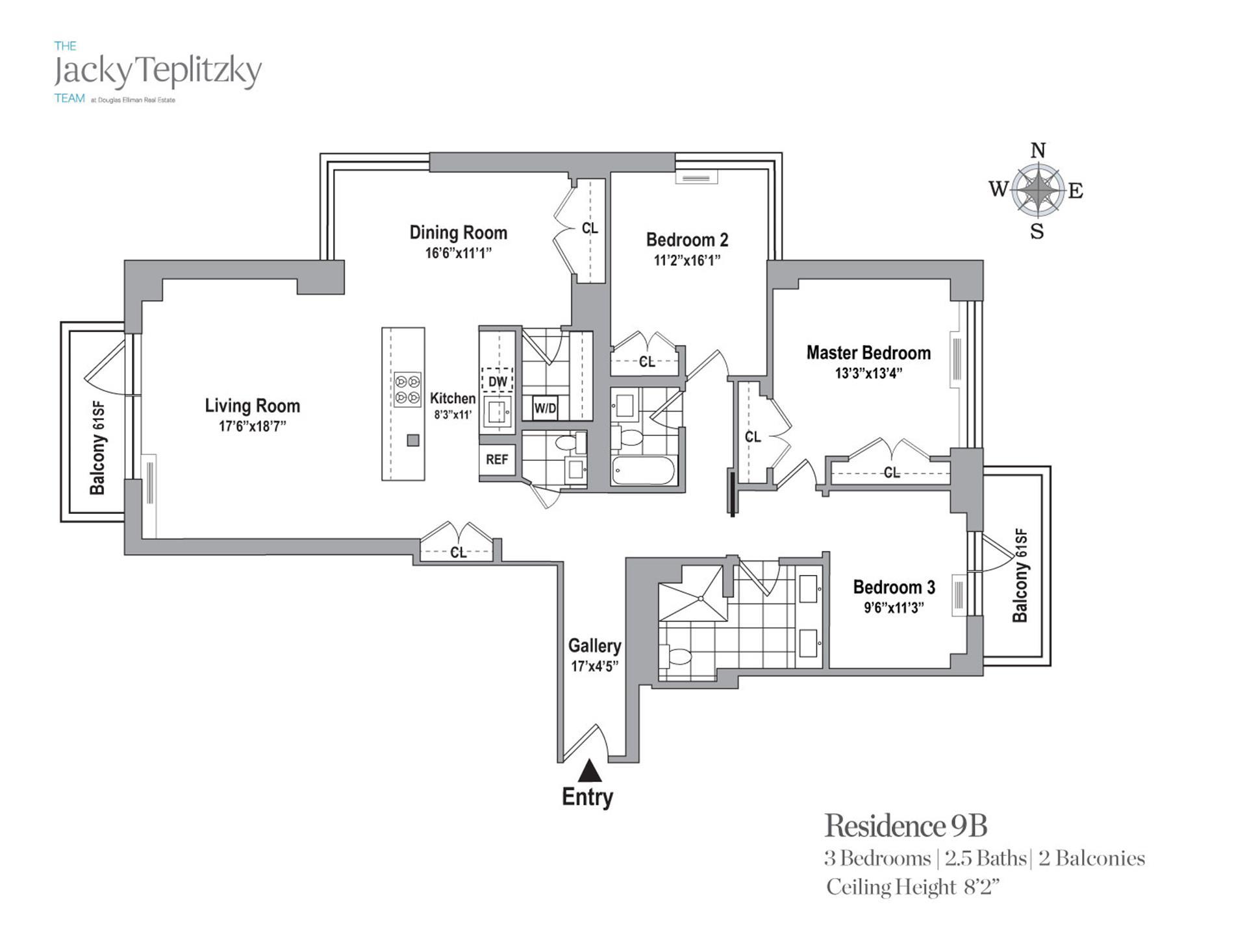Floor plan of Maison East, 1438 Third Avenue, 9B - Upper East Side, New York