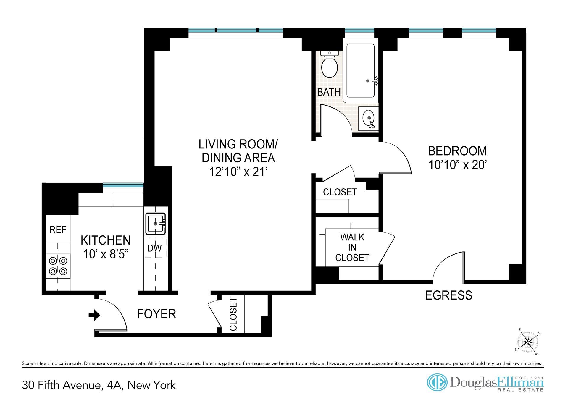 Floor plan of 30 Fifth Avenue, 4A - Greenwich Village, New York