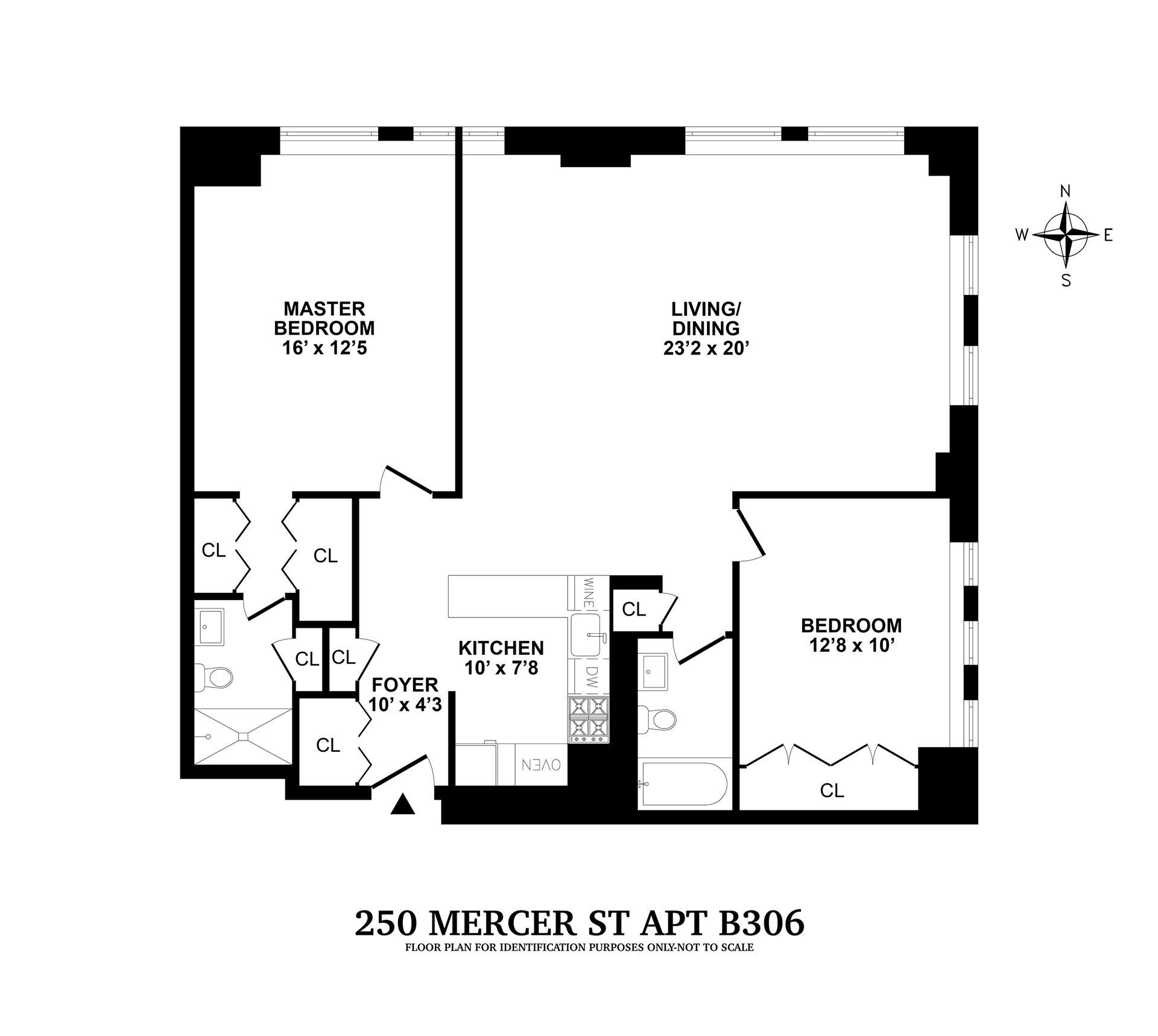 Floor plan of Mercer House, 250 Mercer St, B306 - Greenwich Village, New York