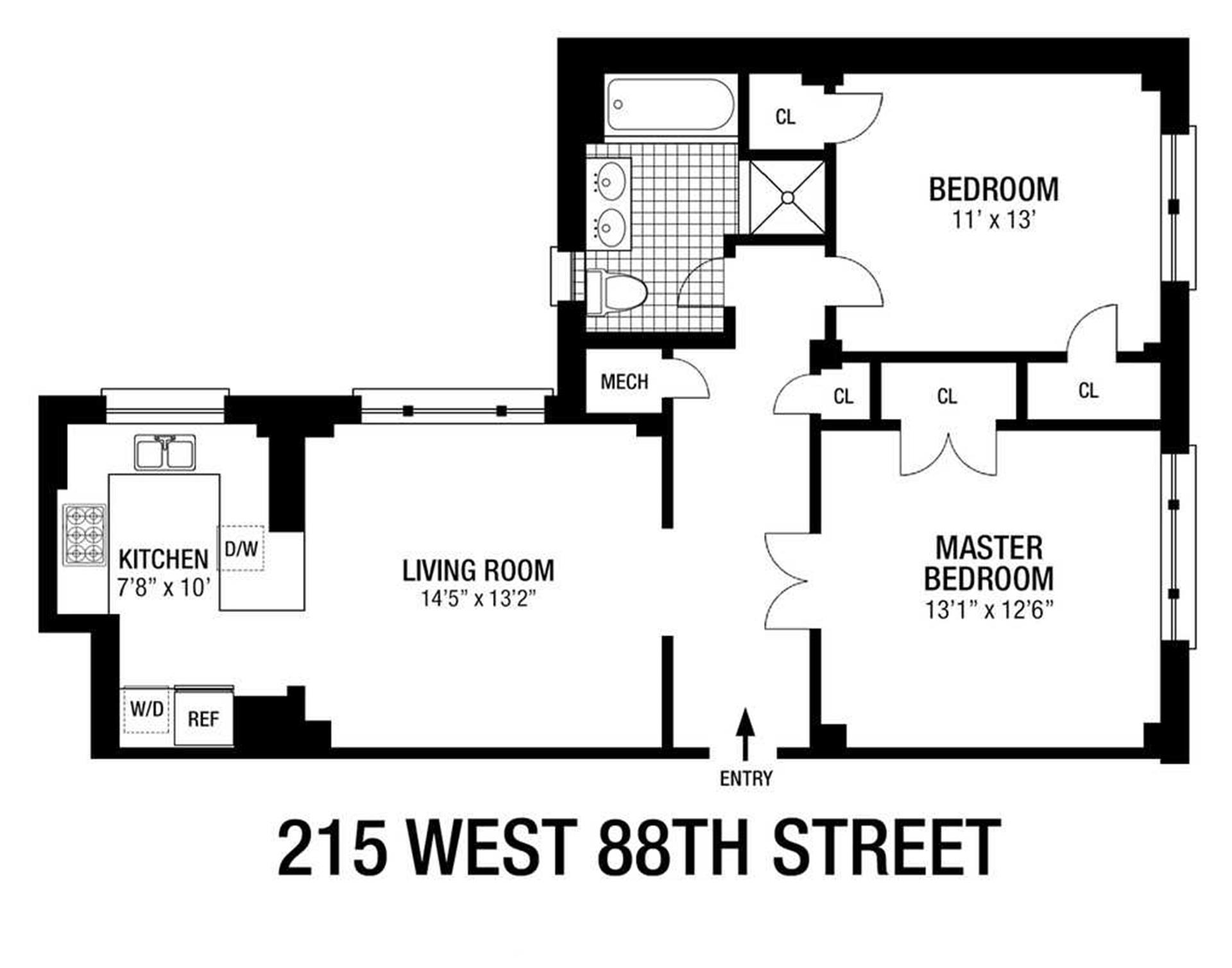 Floor plan of The Merrion, 215 West 88th St, 4B - Upper West Side, New York