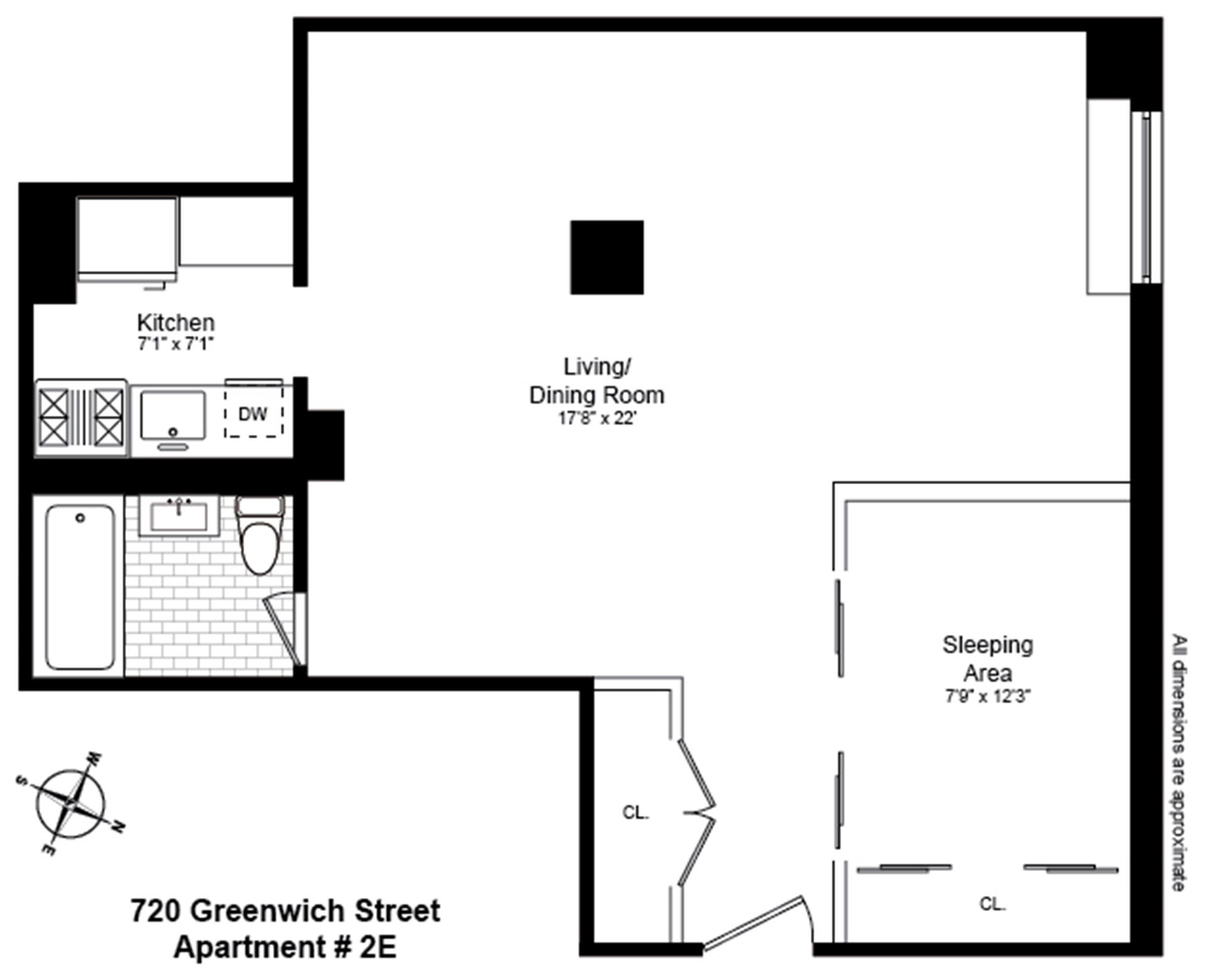 Floor plan of 720 Greenwich St, 2E - West Village - Meatpacking District, New York