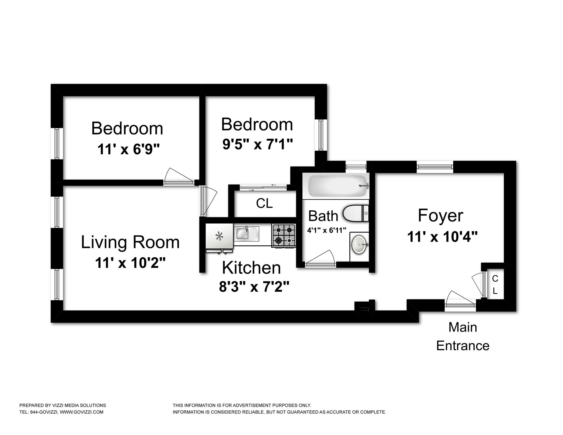 Floor plan of 108 Seigel St, 7 - Williamsburg, New York