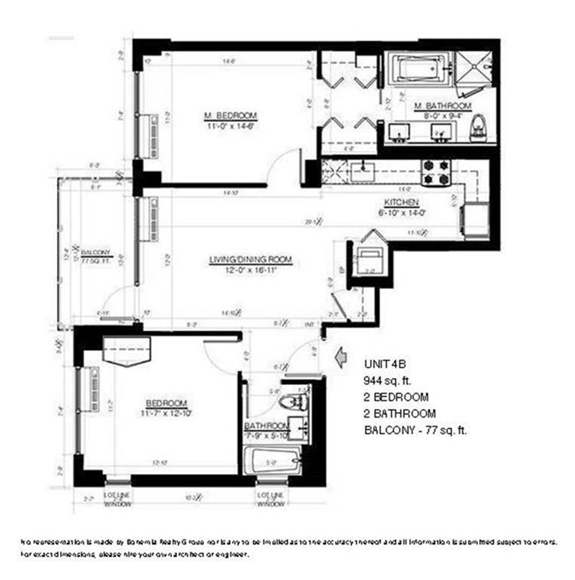 Floor plan of Morningside Condominiums, 306 West 116th St, 4B - Harlem, New York