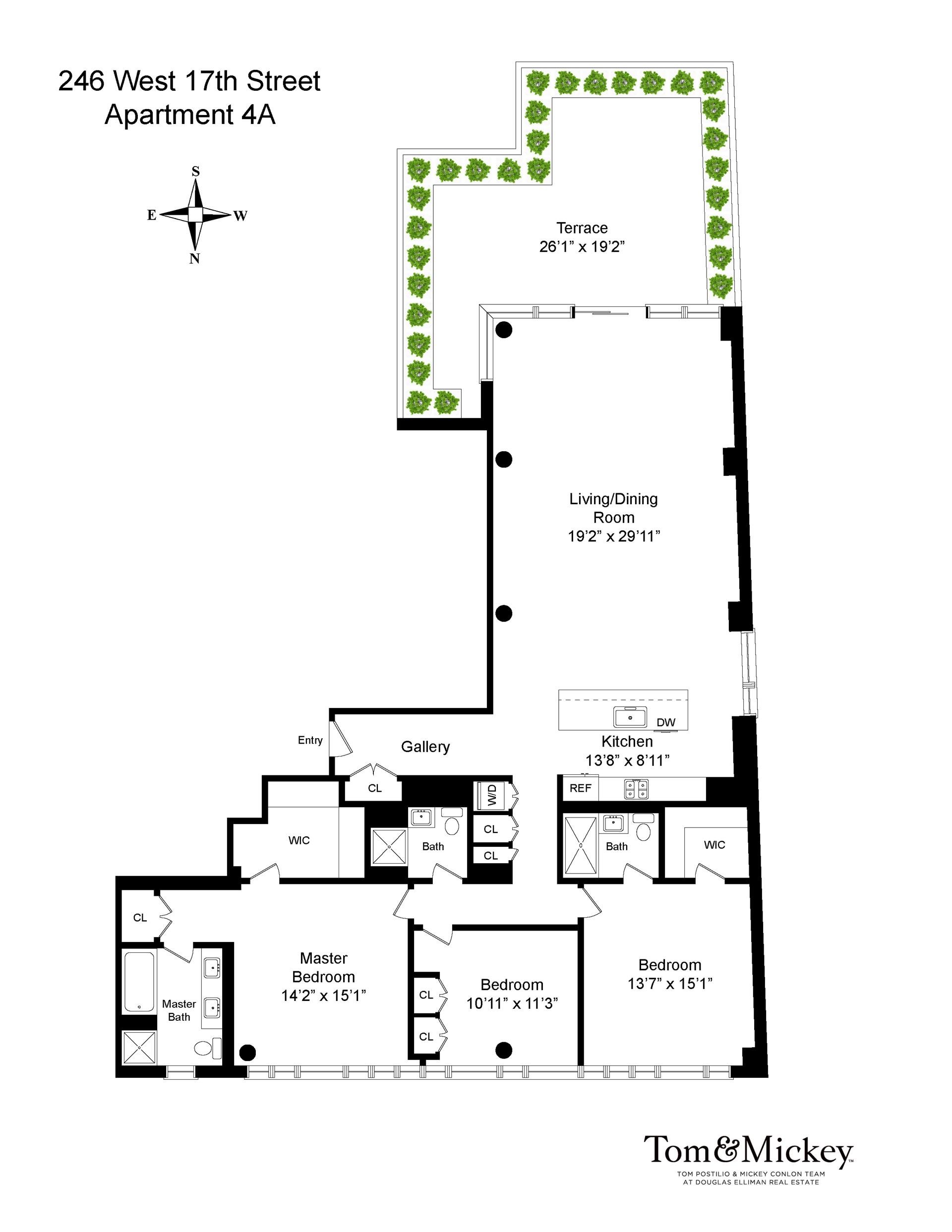 Floor plan of 246 West 17th St, 4A - Chelsea, New York