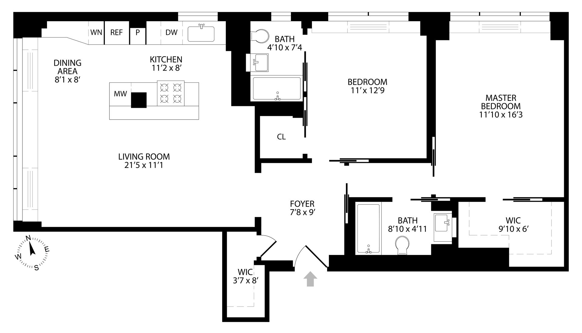 Floor plan of 7 East 14th St, 21G - Greenwich Village, New York