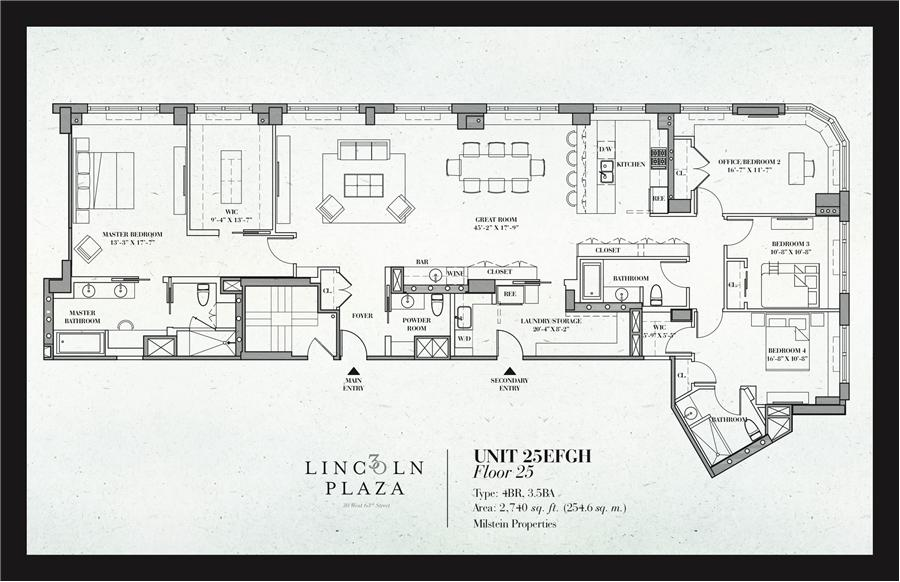 Floor plan of 30 Lincoln Plaza, 30 West 63rd Street, 25EFGH - Lincoln Square, New York