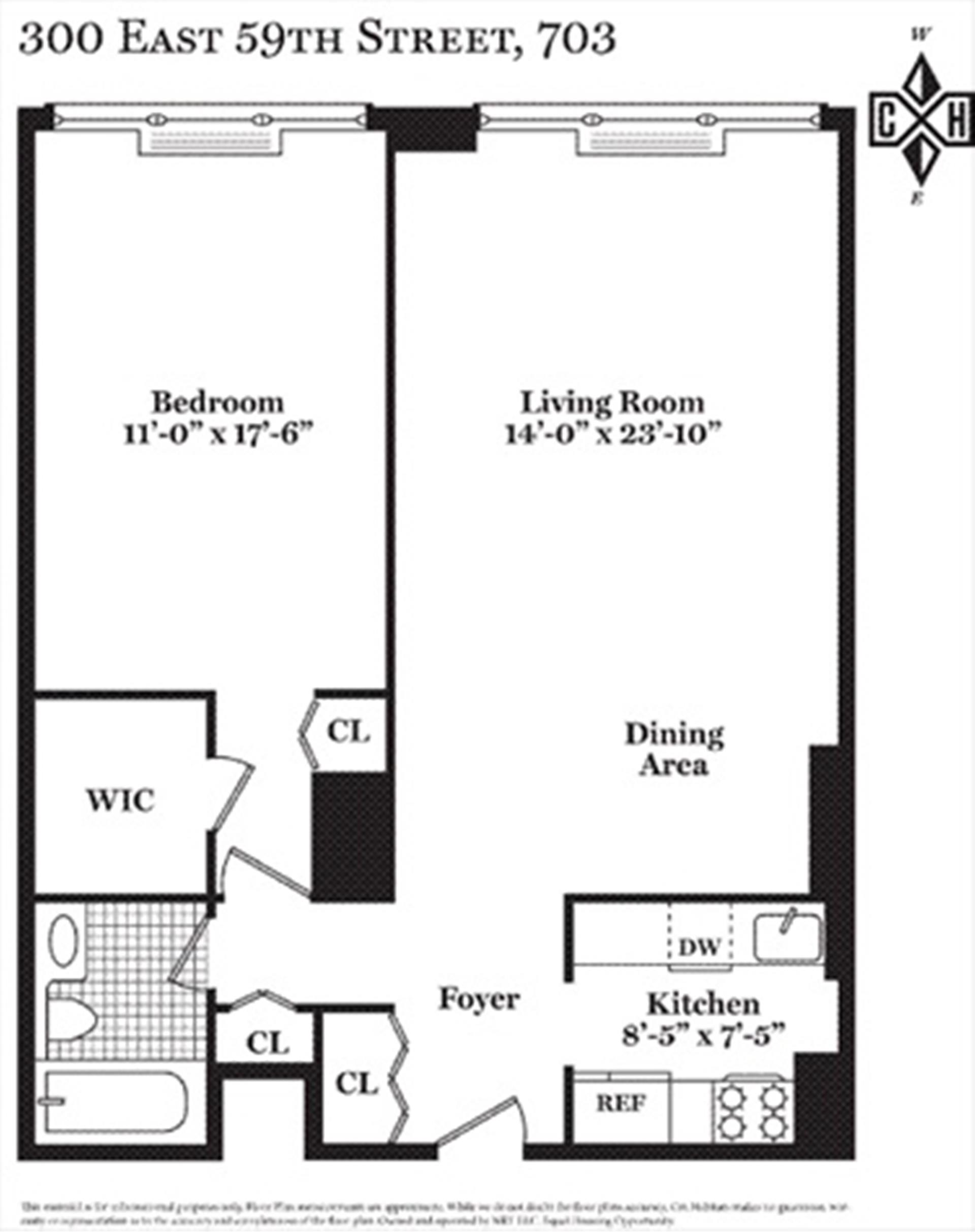 Floor plan of 300 East 59th St, 2603 - Upper East Side, New York