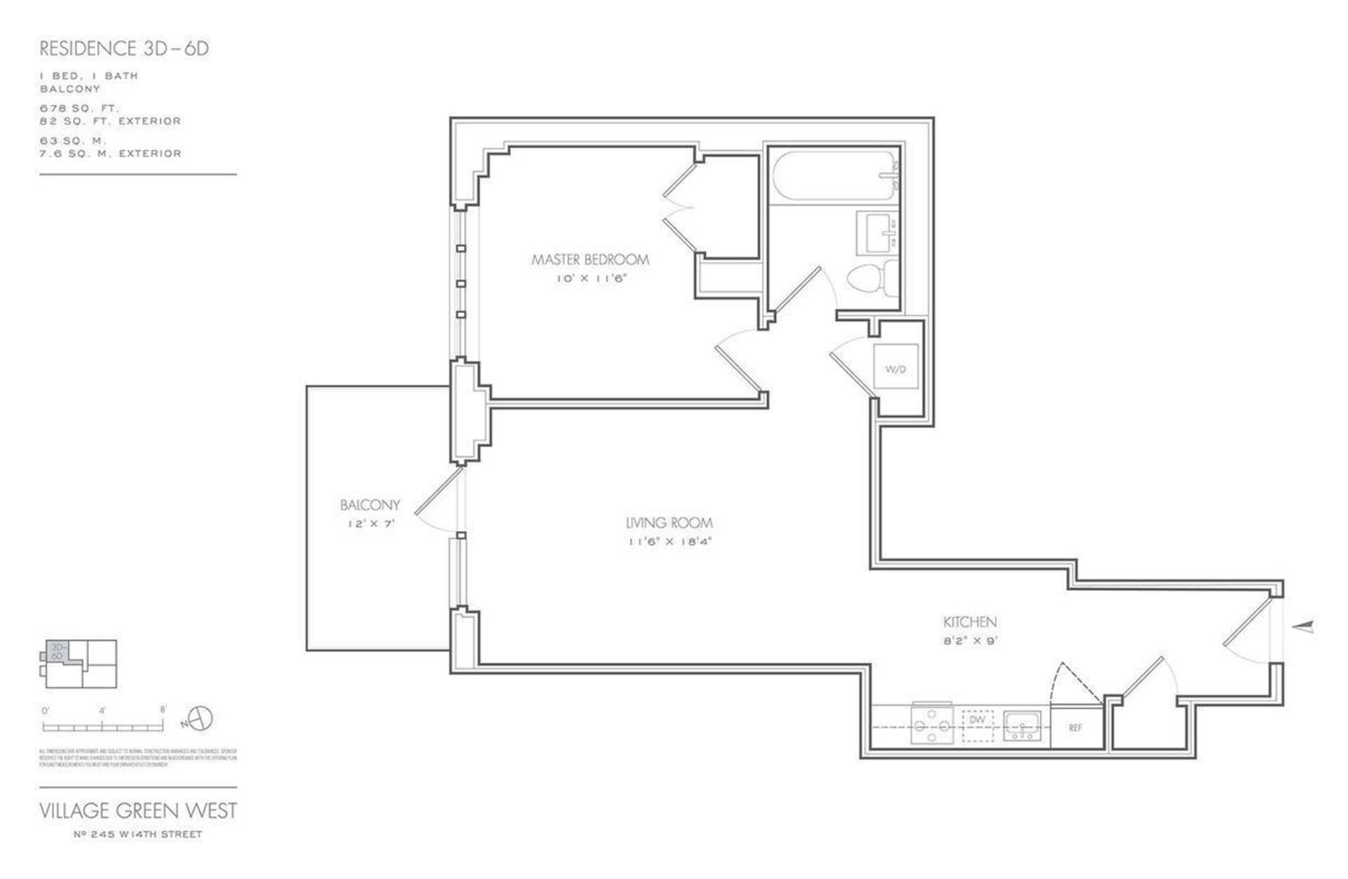 Floor plan of Village Green West, 245 West 14th St, 5D - Chelsea, New York