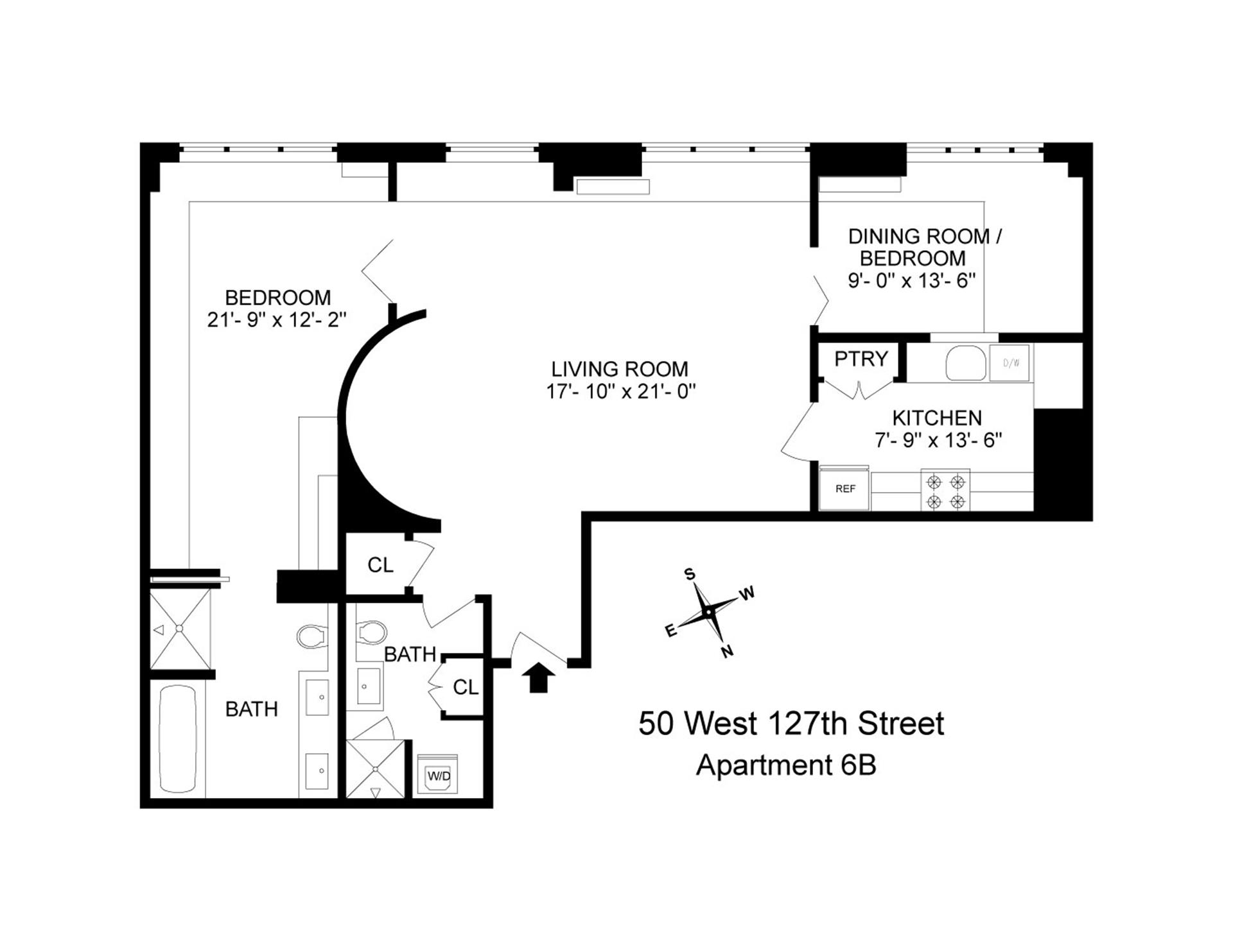 Floor plan of 50 West 127th St, 6B - Harlem, New York
