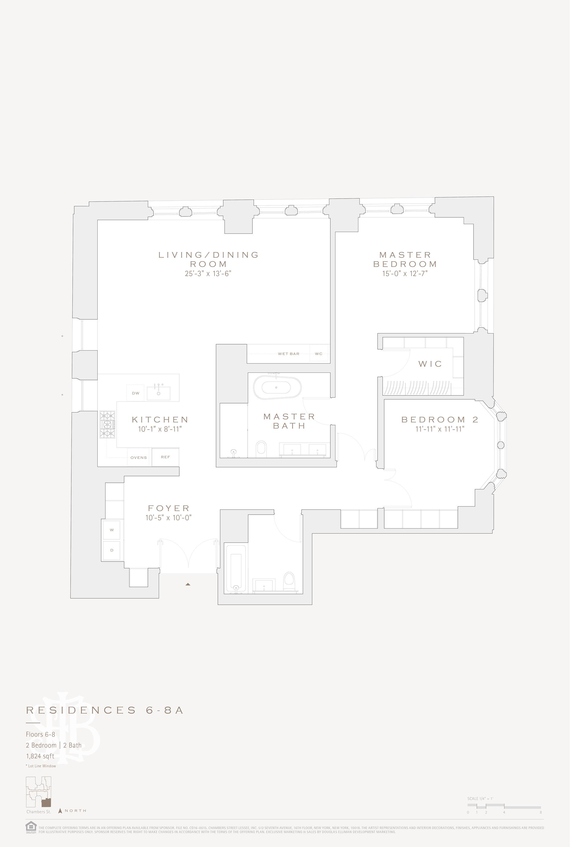 Floor plan of 49 Chambers St, 7A - TriBeCa, New York
