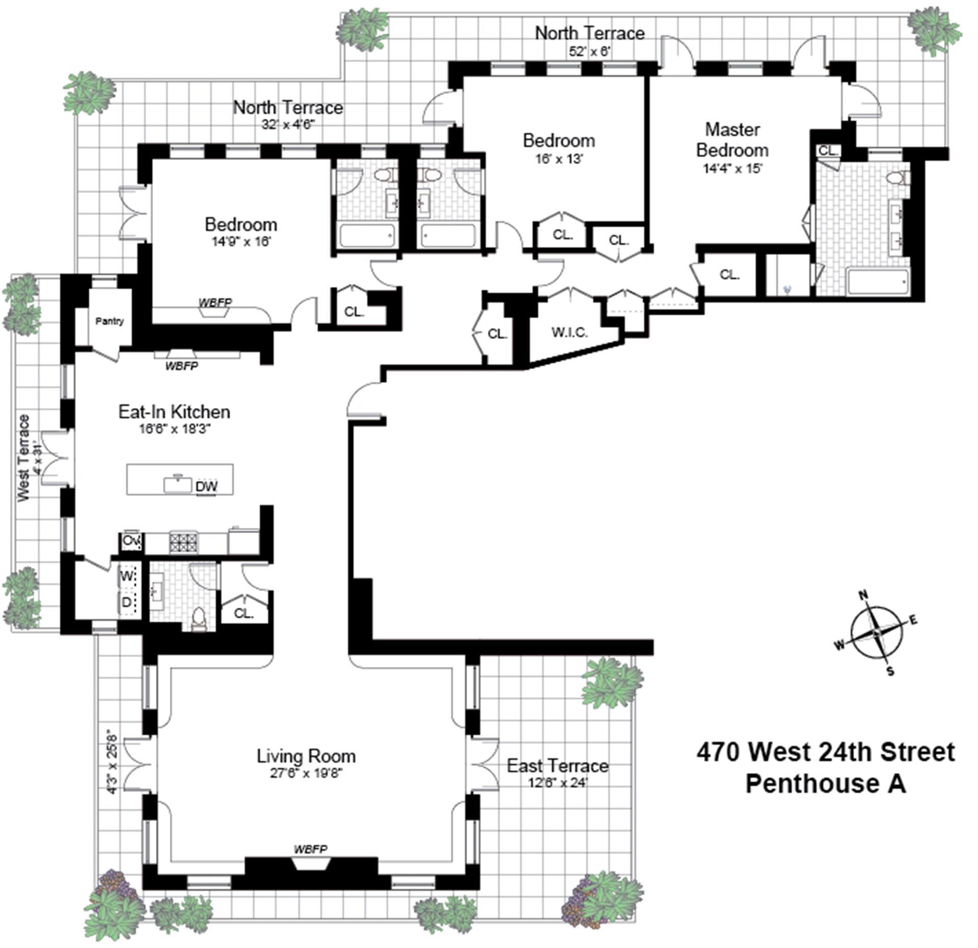 Floor plan of 470 West 24th St, PHA - Chelsea, New York