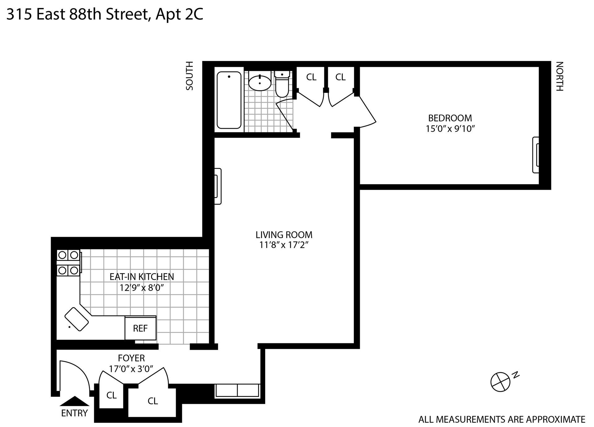 Floor plan of 315 East 88th St, 2C - Upper East Side, New York