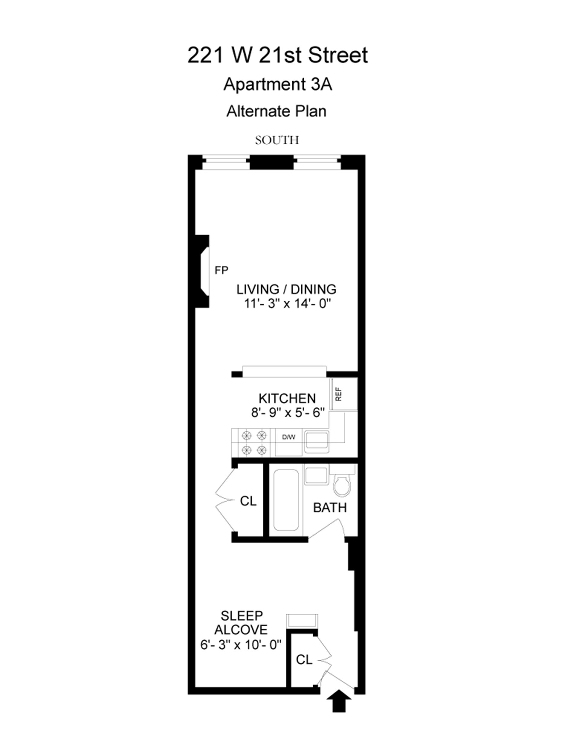 Floor plan of 221 West 21st St, 3A - Chelsea, New York