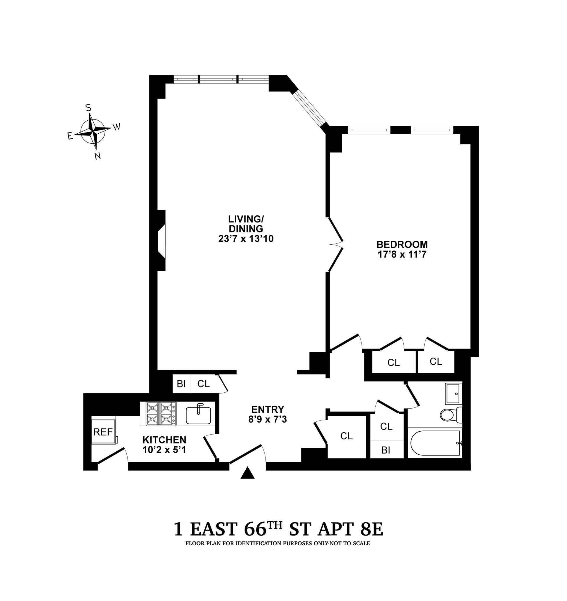 Floor plan of 1 East 66th Street Corp., 1 East 66th St, 8E - Upper East Side, New York