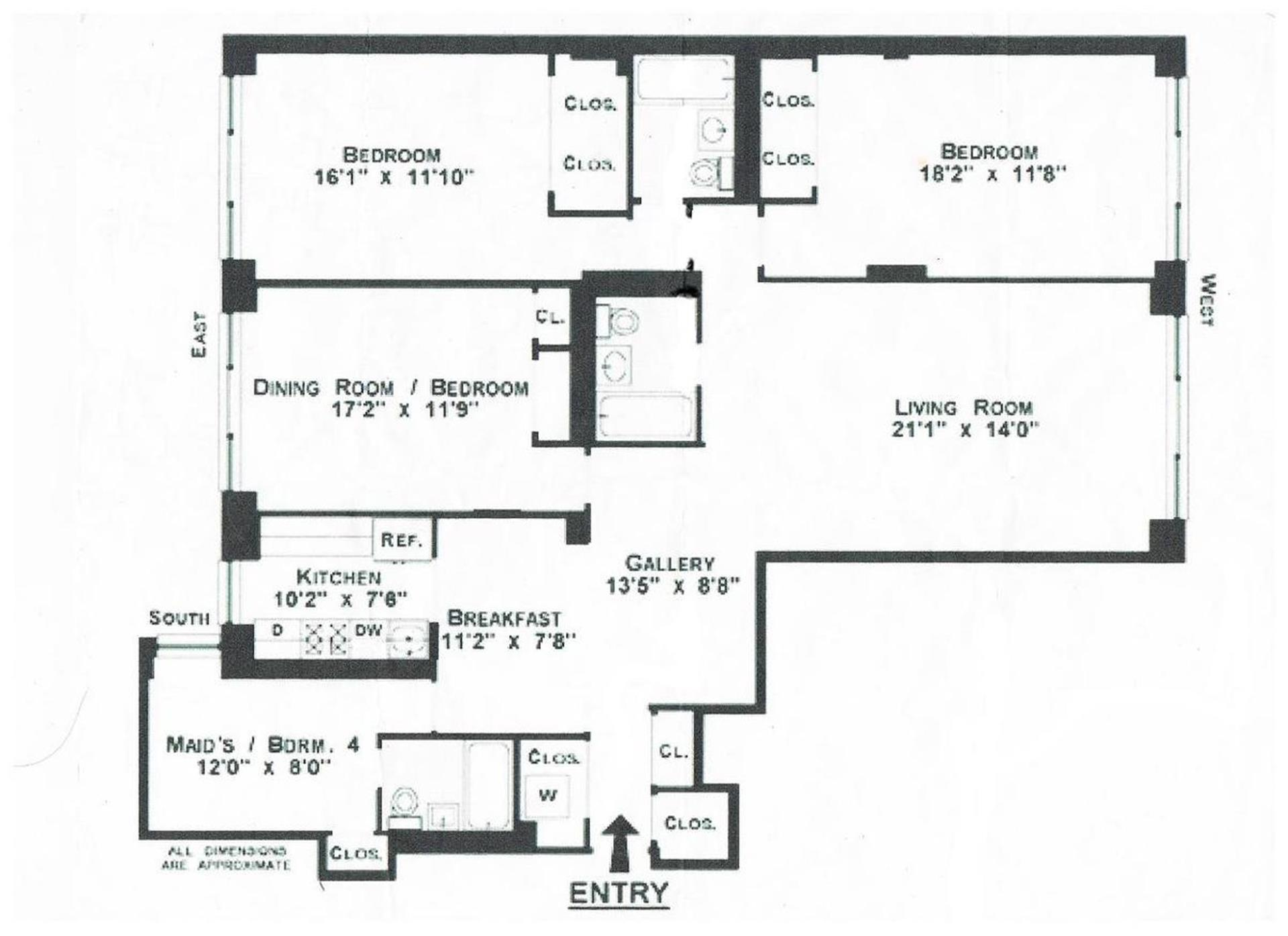 Floor plan of 150 East 77th St, 12A - Upper East Side, New York