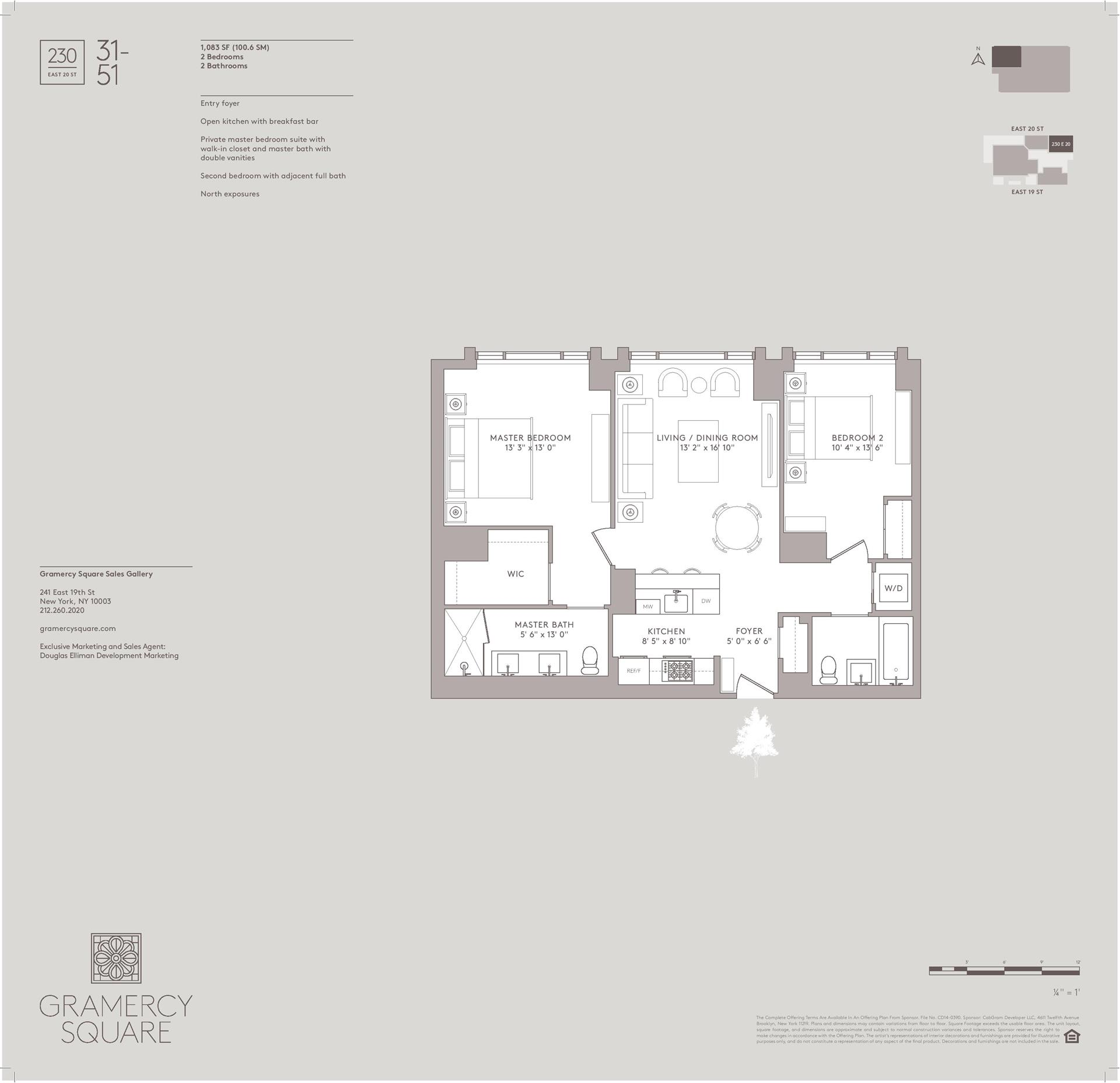 Floor plan of Gramercy Square, 230 East 20th Street, 31 - Gramercy - Union Square, New York
