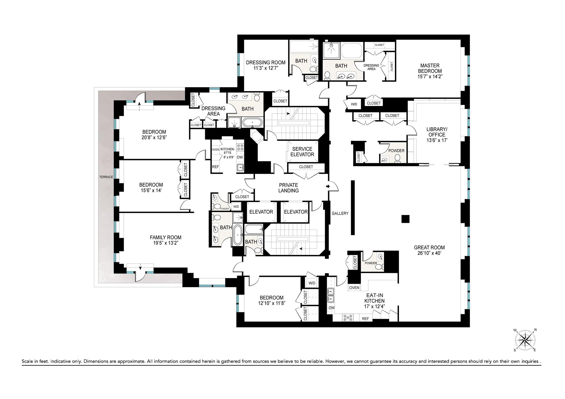 Floor plan of 110 Central Park South, 17ABC - Central Park South, New York