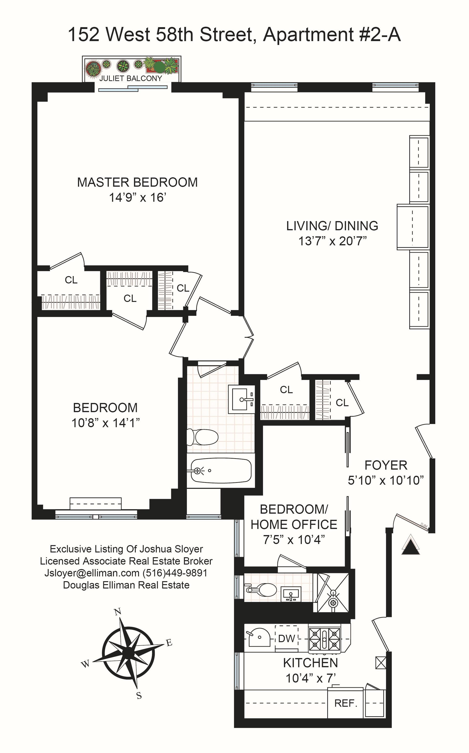 Floor plan of 152 W. 58TH STREET, 152 West 58th St, 2A - Midtown, New York