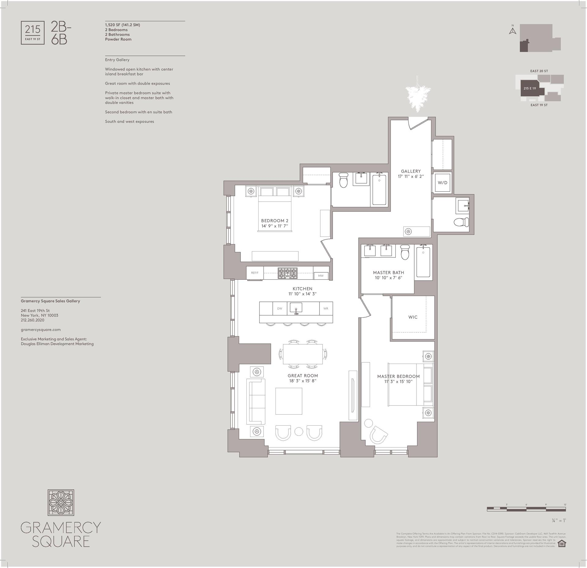 Floor plan of Gramercy Square, 215 East 19th St, 6B - Gramercy - Union Square, New York
