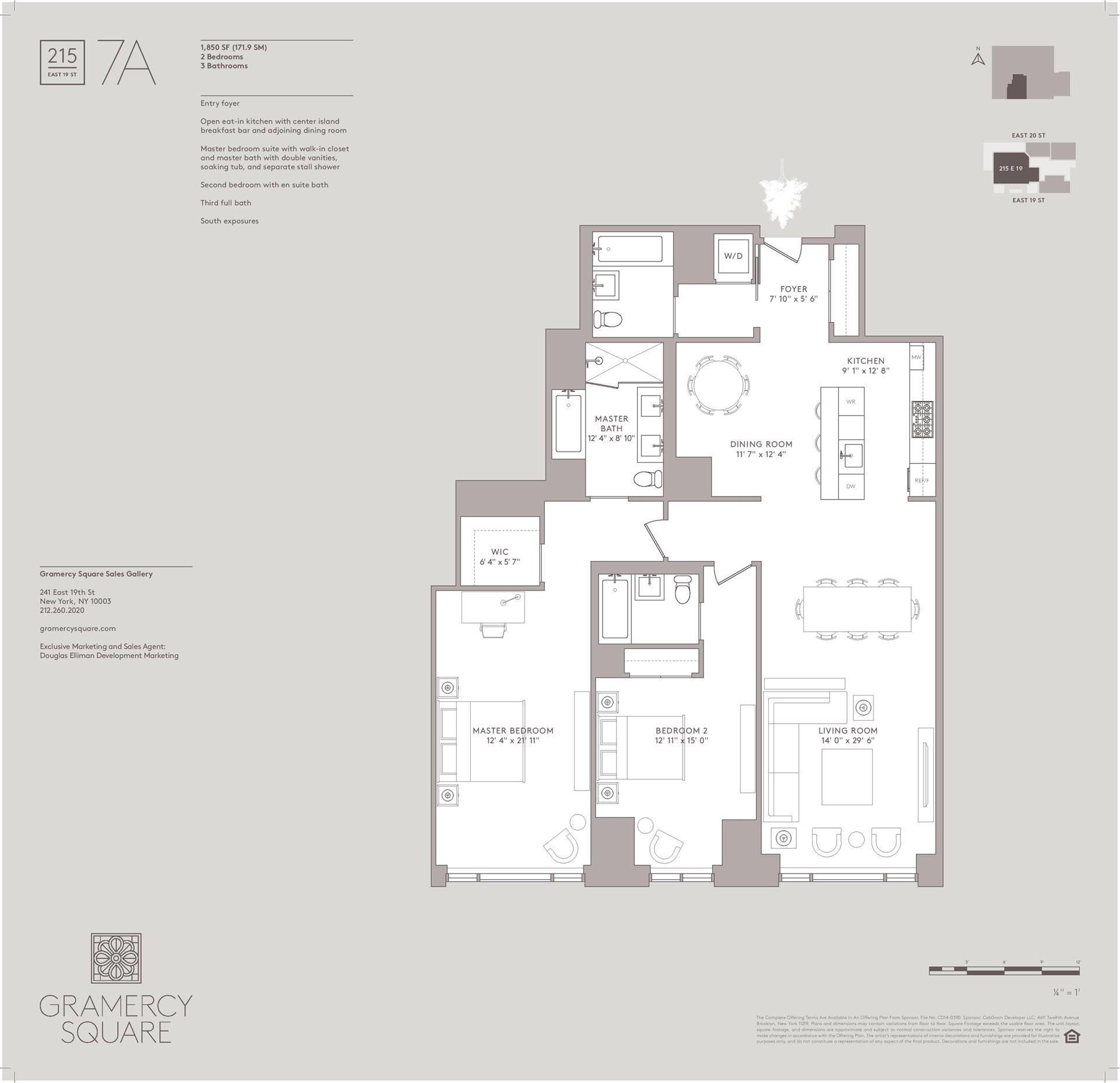 Floor plan of Gramercy Square, 215 East 19th Street, 7A - Gramercy - Union Square, New York