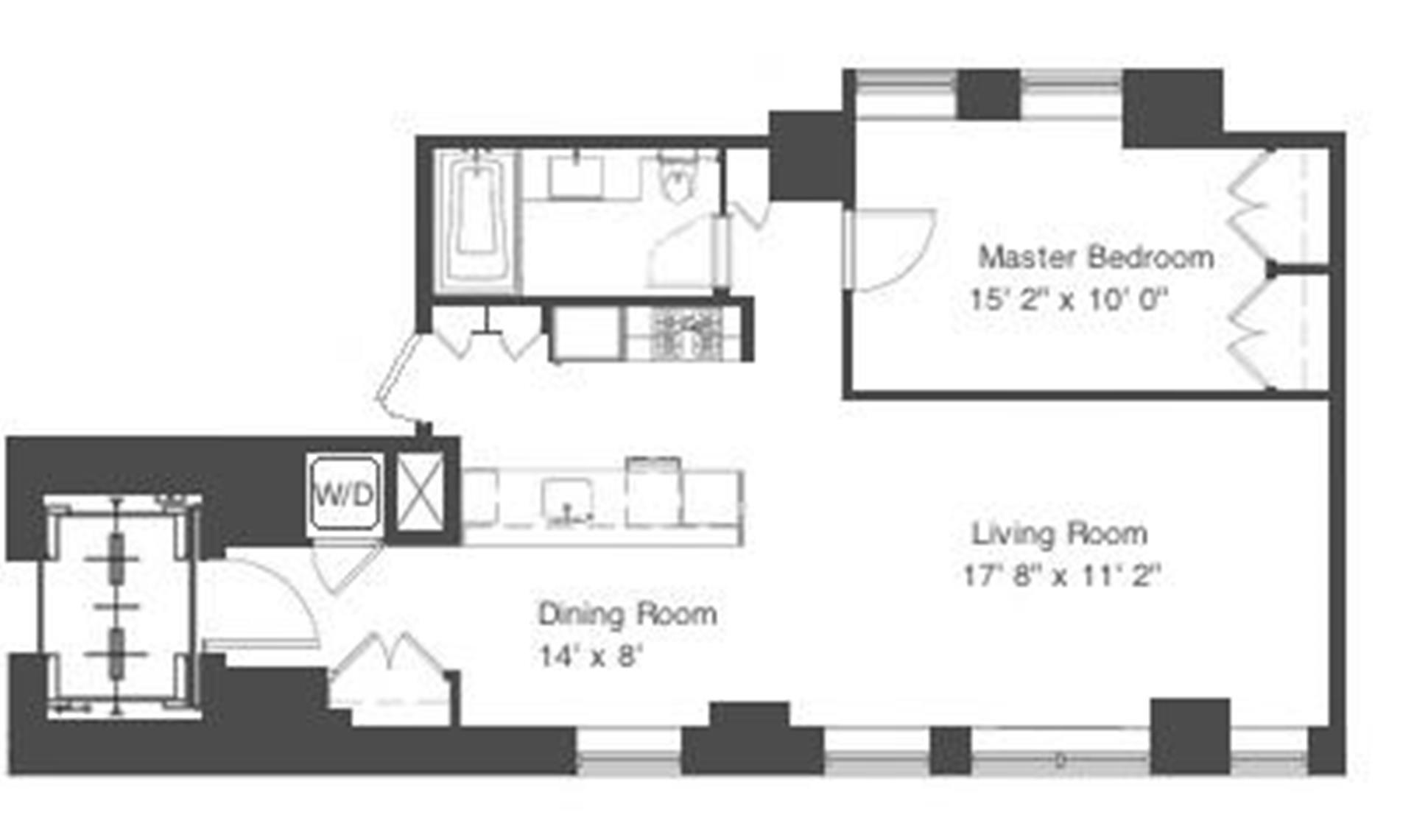 Floor plan of 260 Park Avenue South, 7K - Flatiron District, New York
