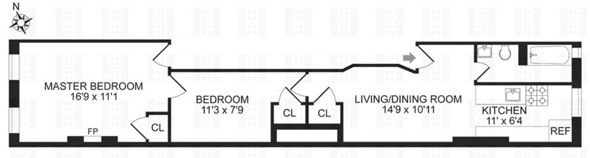 Floor plan of 286 West 127th St, 3A - Harlem, New York