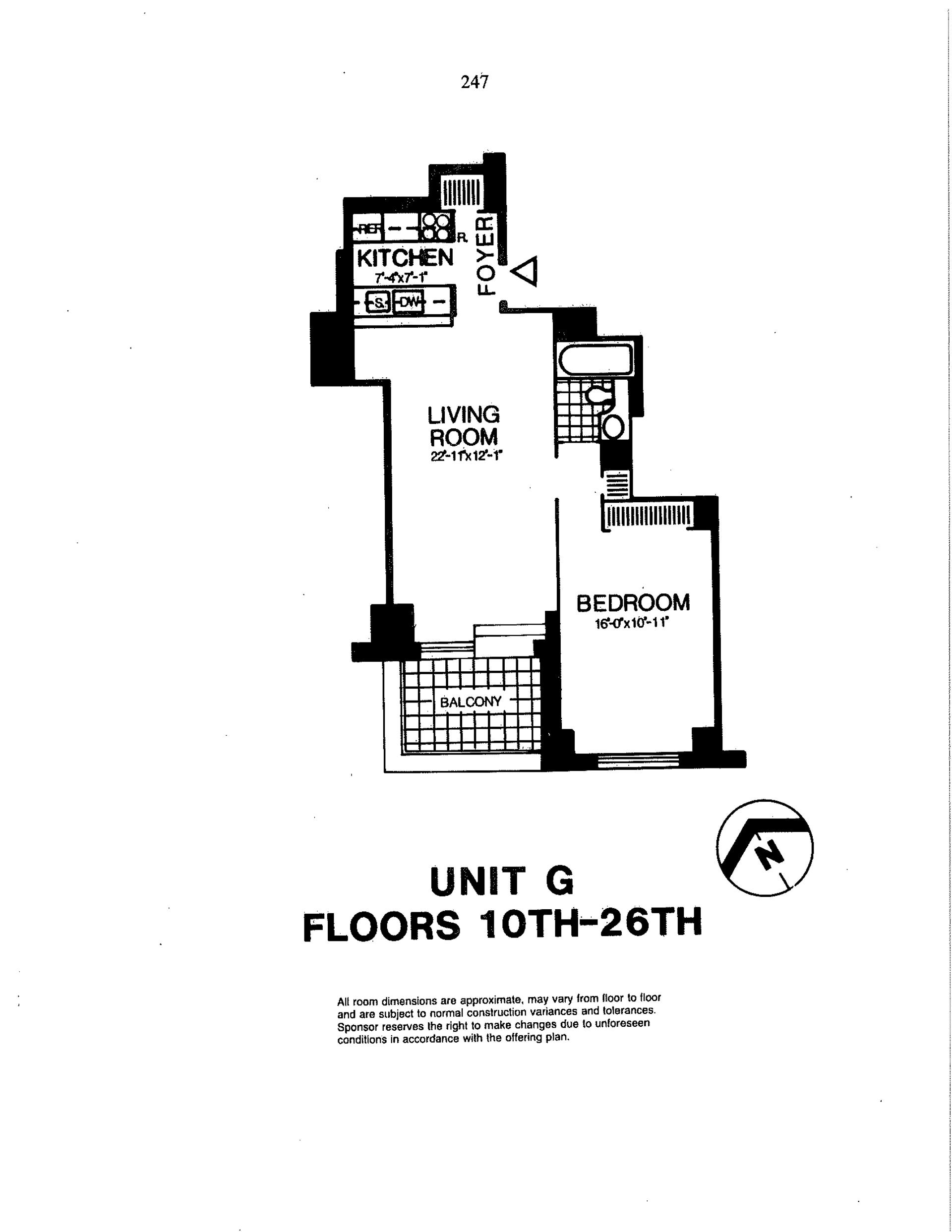 Floor plan of Liberty Residences, 200 Rector Pl, 10G - Battery Park City, New York