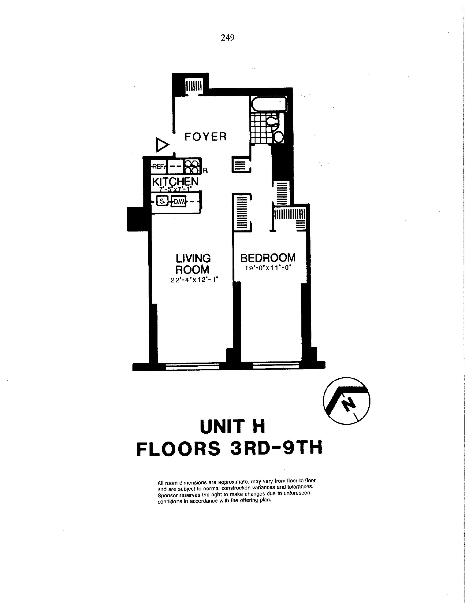 Floor plan of Liberty Residences, 200 Rector Pl, 6H - Battery Park City, New York