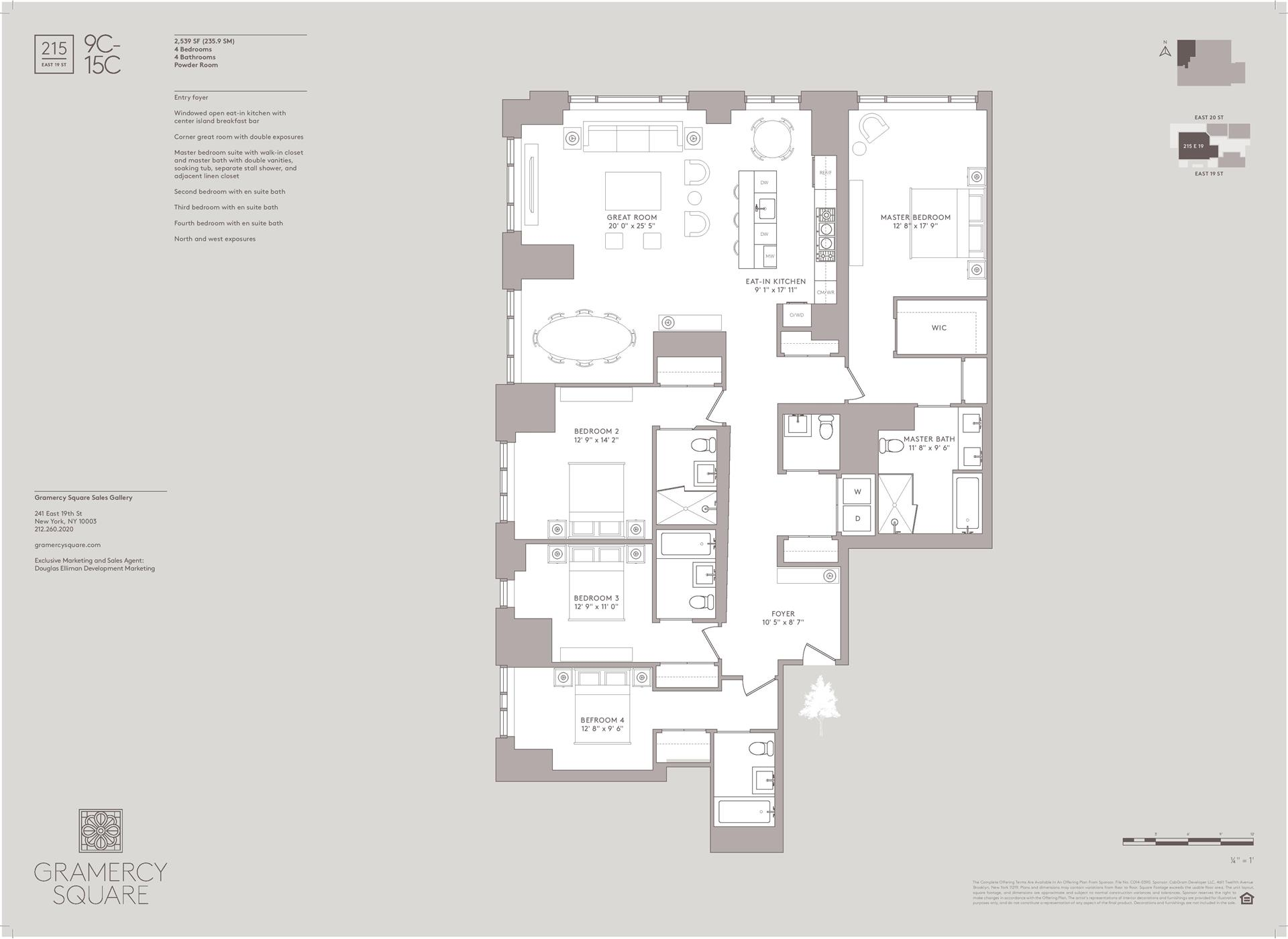Floor plan of Gramercy Square, 215 East 19th St, 12C - Gramercy - Union Square, New York