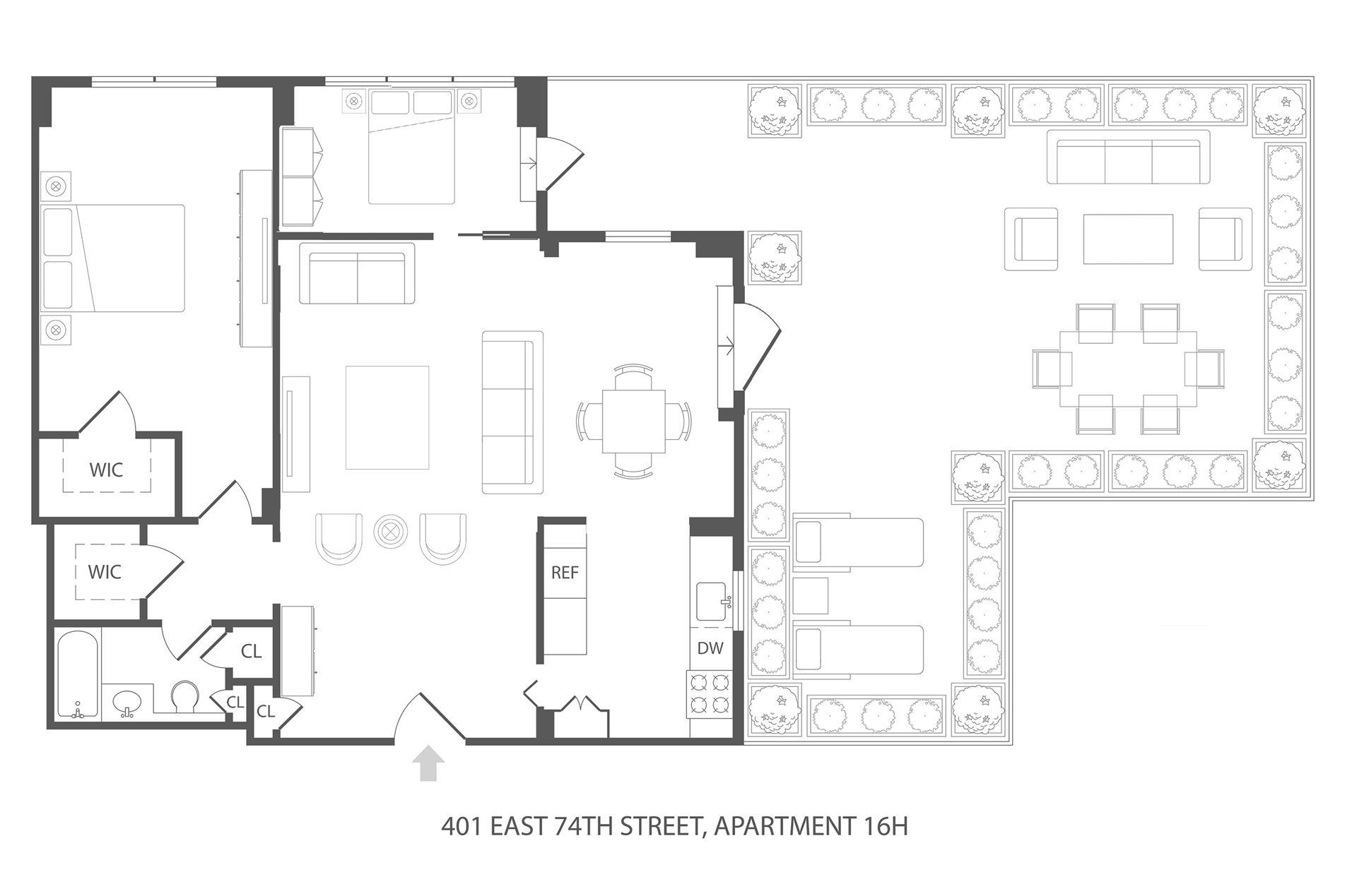 Floor plan of 401 East 74th Street, 16H - Upper East Side, New York
