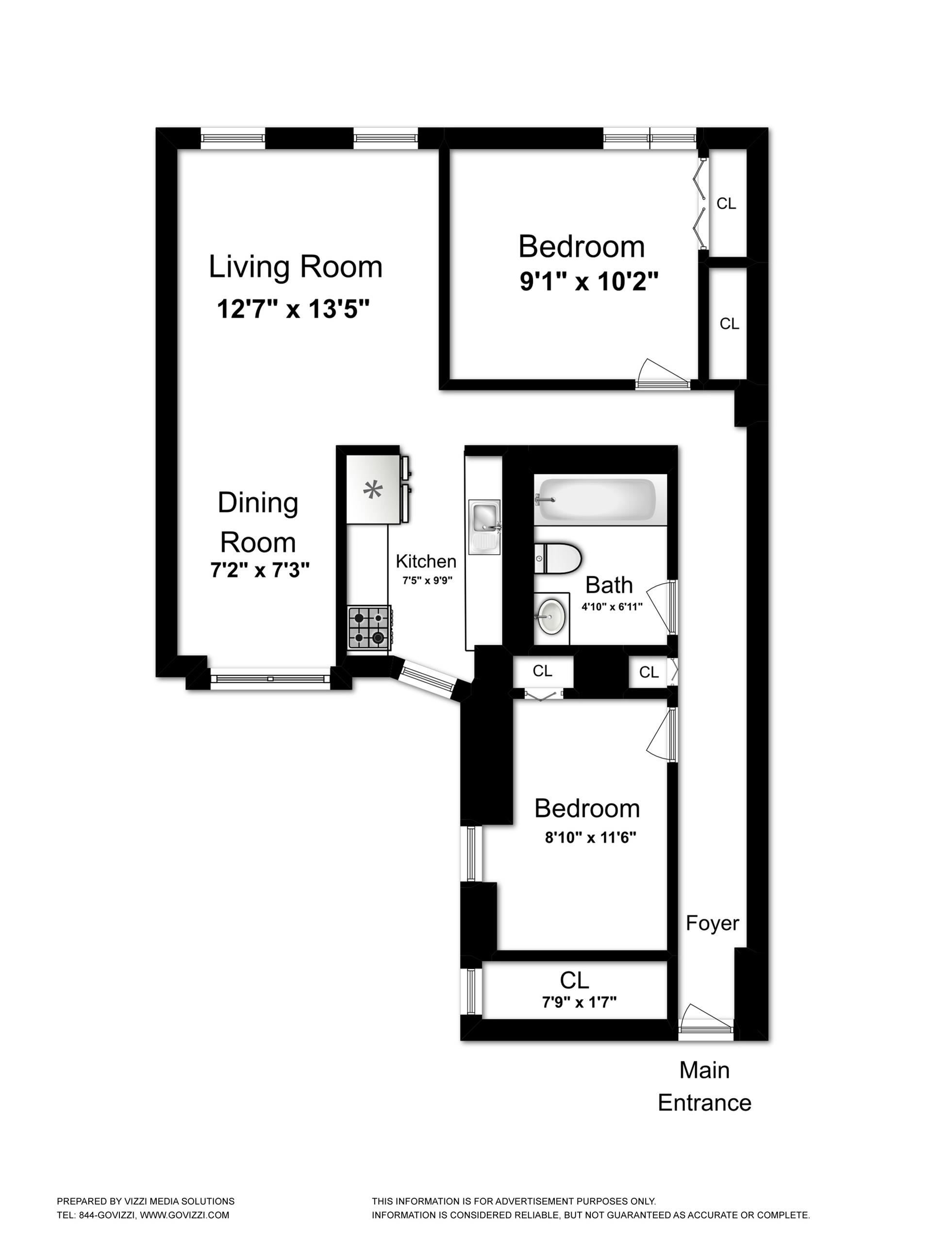 Floor plan of 11 Ten Eyck St, 2D - Williamsburg, New York