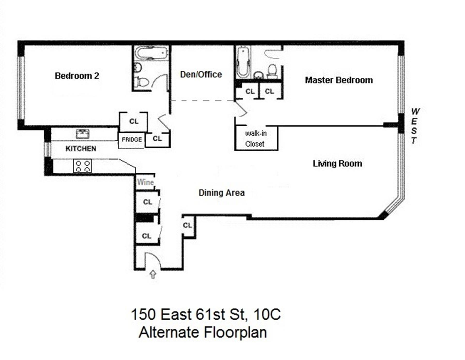 Floor plan of 150 East 61st Street, 10C - Upper East Side, New York