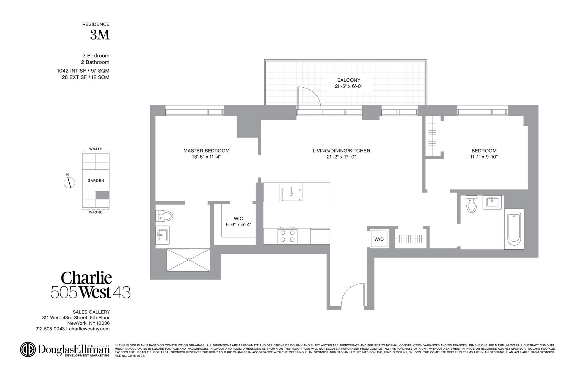 Floor plan of 505 West 43rd St, 3M - Clinton, New York