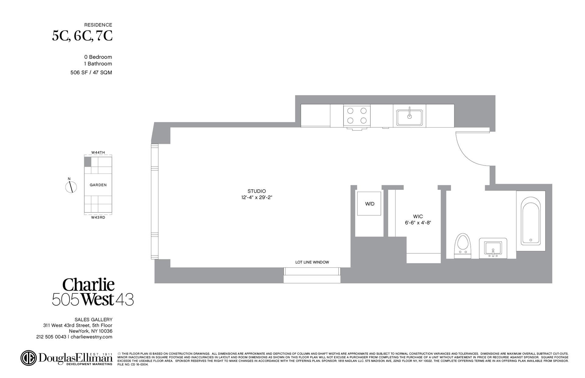 Floor plan of 505 West 43rd Street, 6C - Clinton, New York