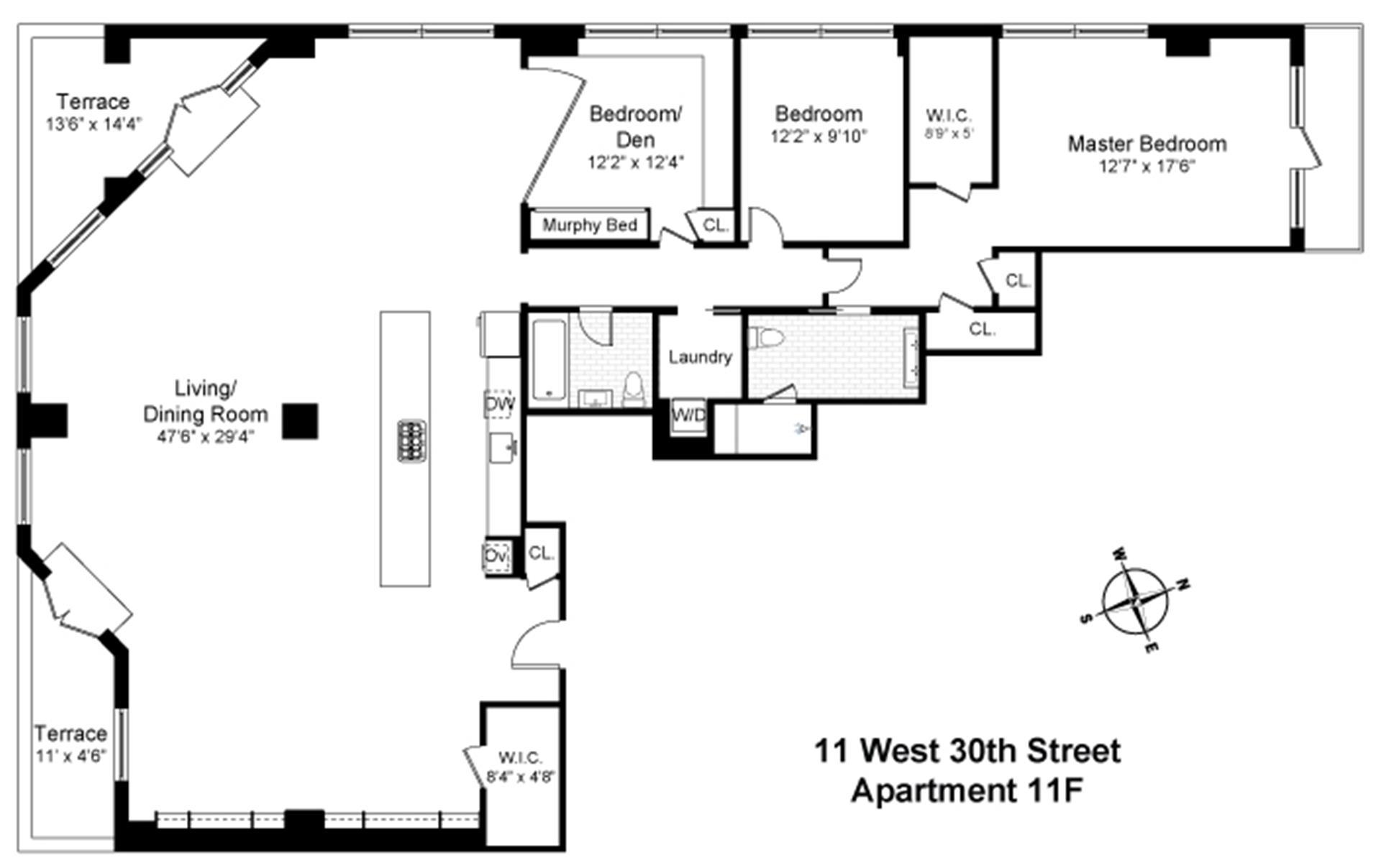 Floor plan of 11 West 30th St, 11F - Flatiron District, New York