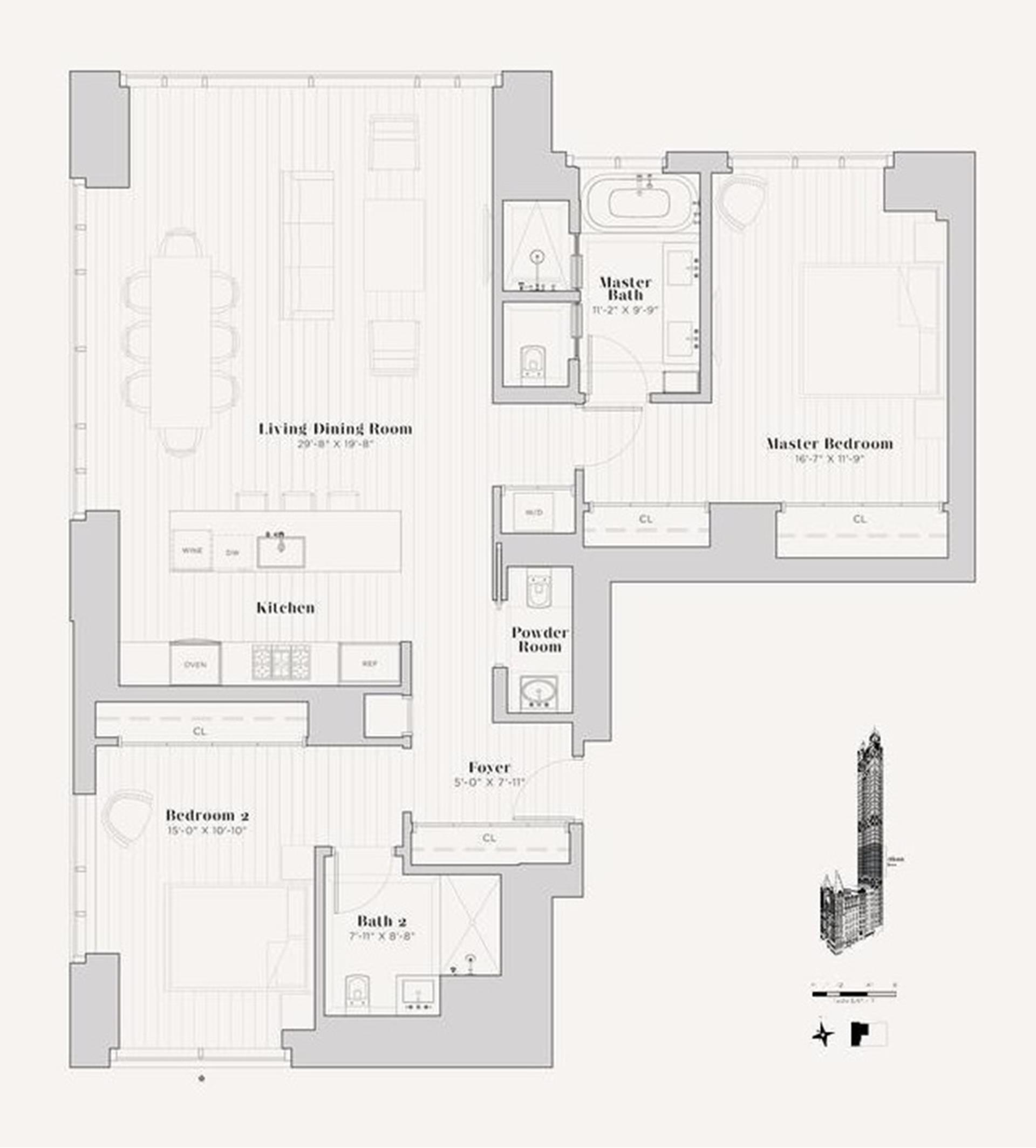 Floor plan of The Beekman Residences, 5 Beekman St, 17A - Financial District, New York