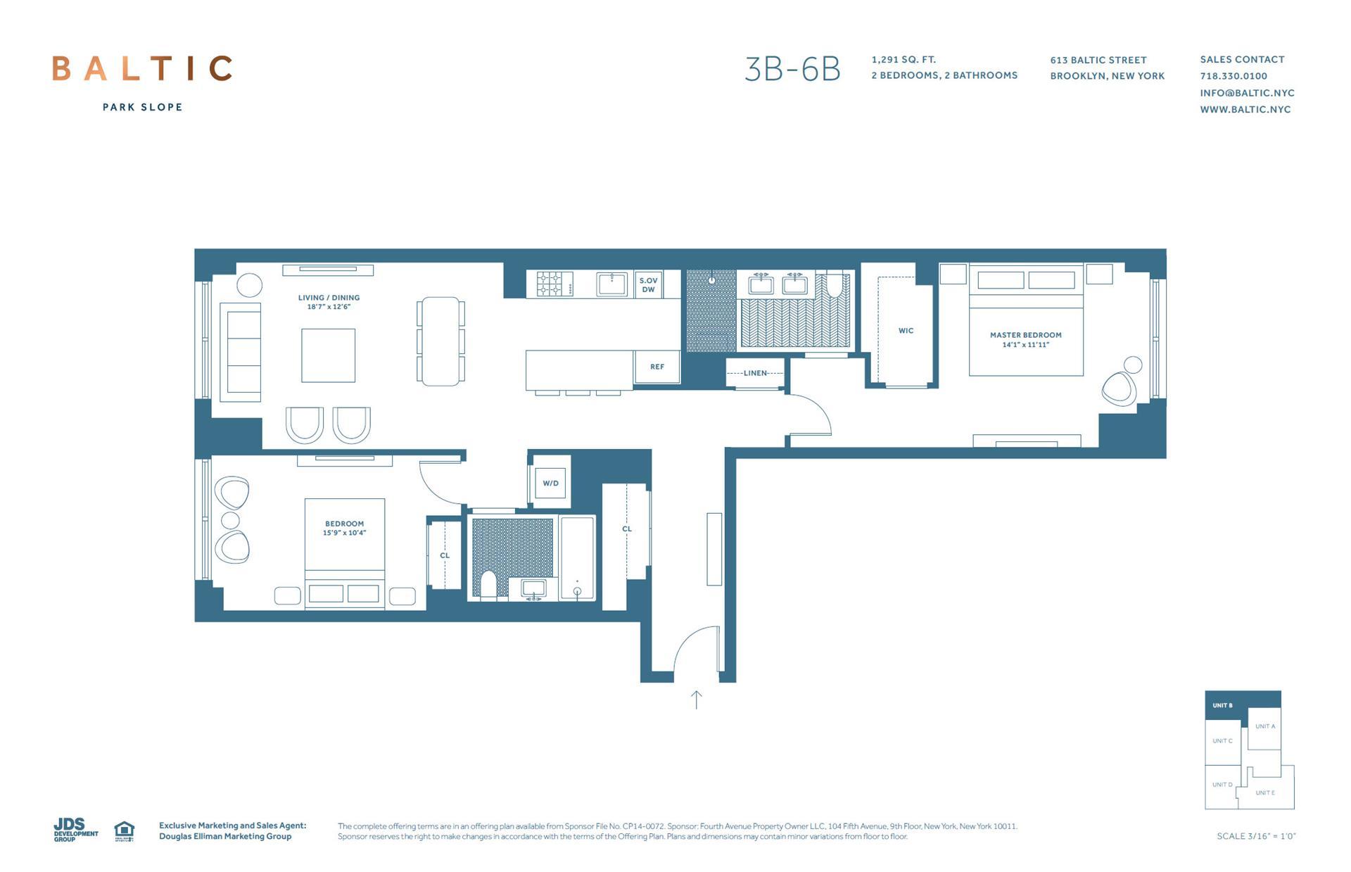 Floor plan of 613 Baltic St, 5B - Park Slope, New York
