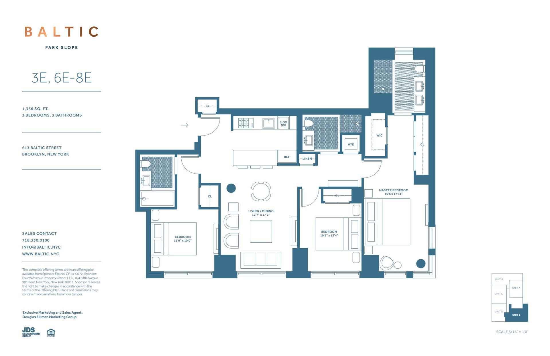 Floor plan of 613 Baltic St, 7E - Park Slope, New York