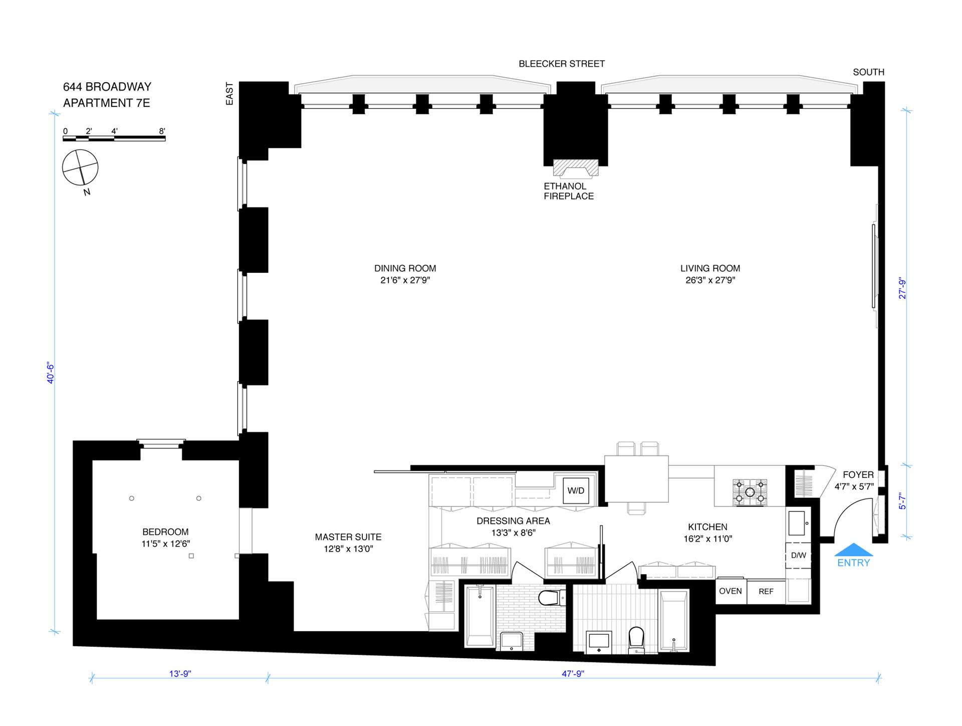 Floor plan of 73 Bleecker St, 7E - NoHo, New York