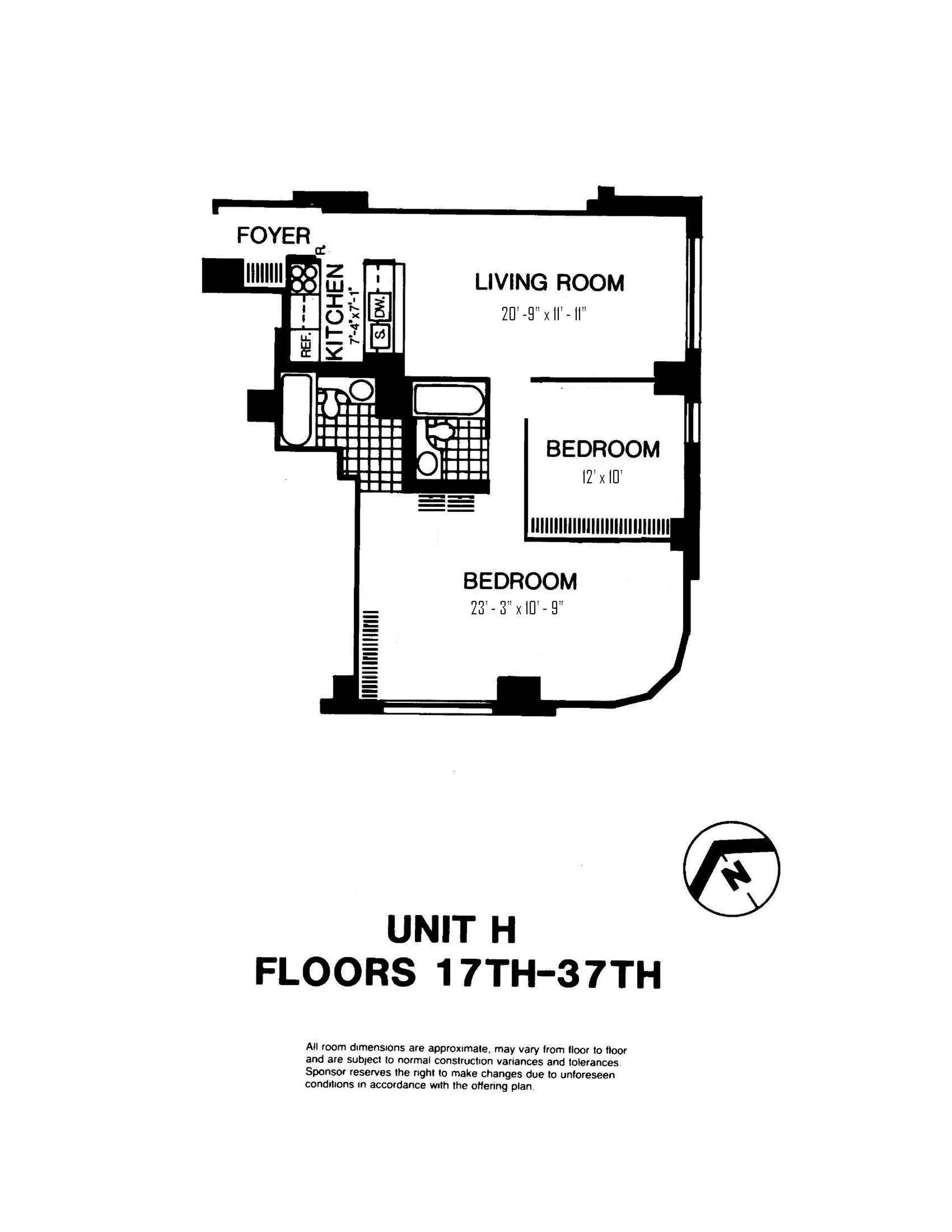 Floor plan of Liberty Residences, 200 Rector Pl, 36H - Battery Park City, New York
