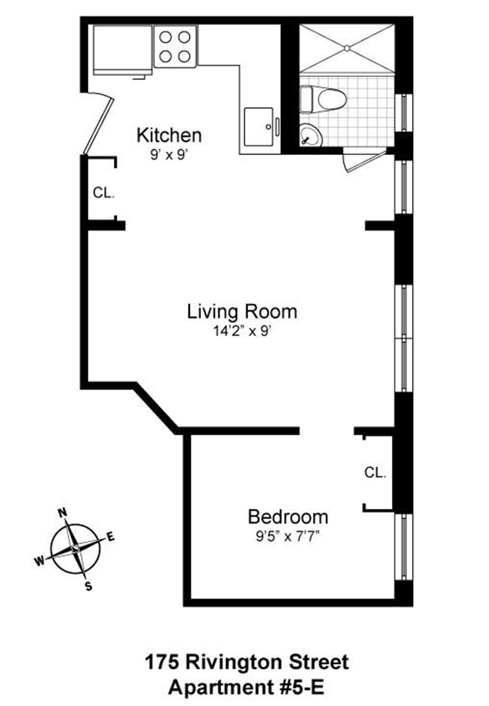 Floor plan of 175 Rivington St, 5E - Lower East Side, New York