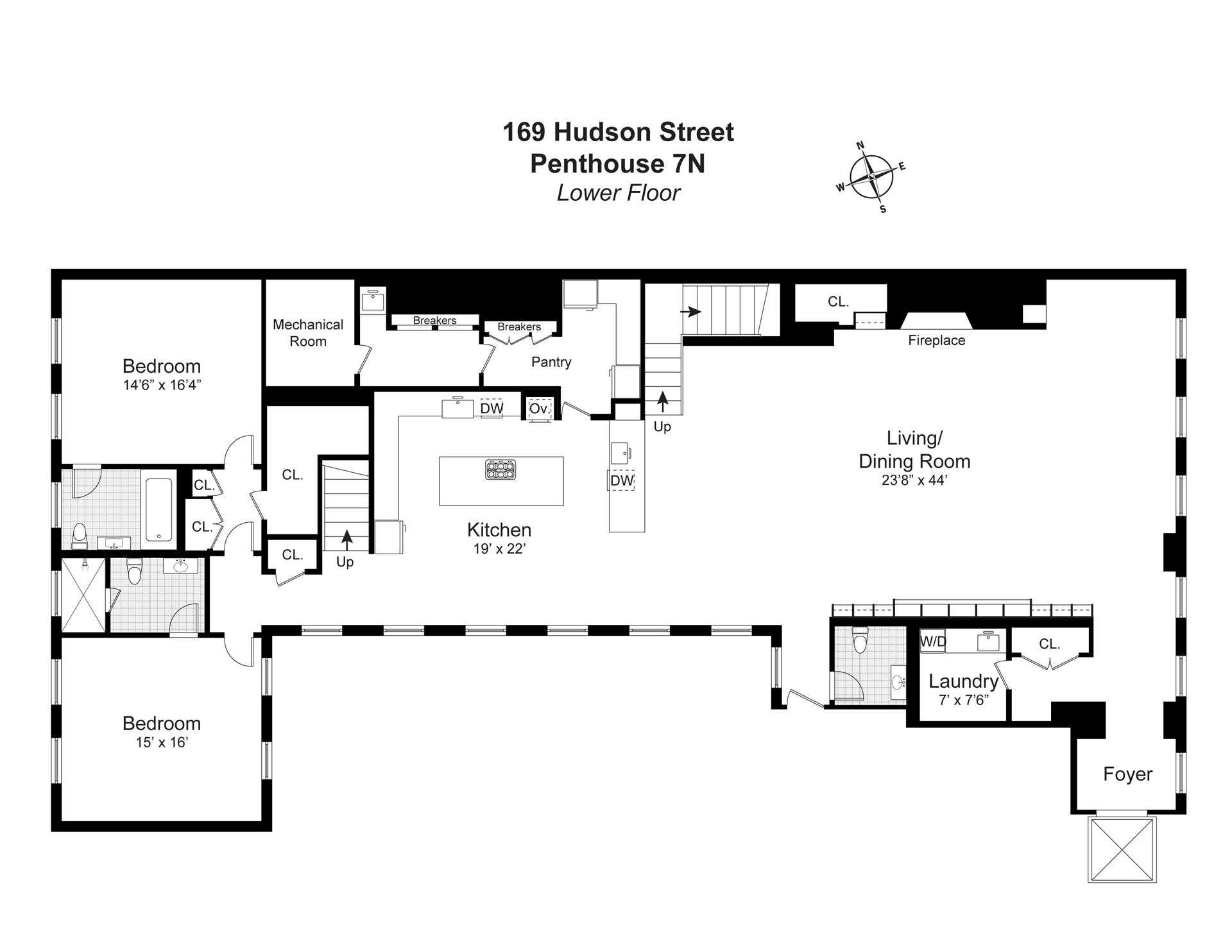 Floor plan of The Roebling Building, 169 Hudson St, PH7N - TriBeCa, New York