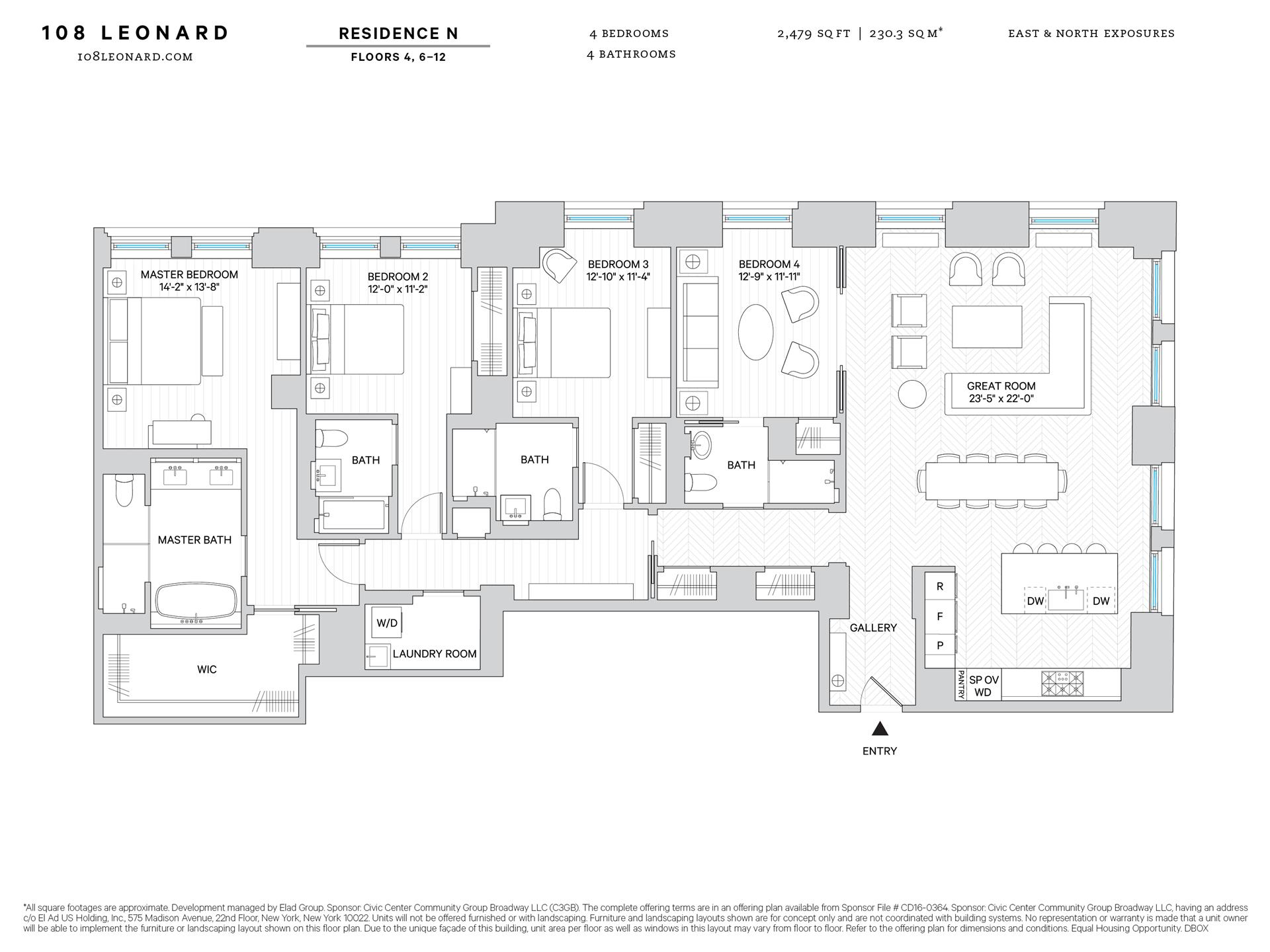 Floor plan of 108 Leonard St, 8N - TriBeCa, New York