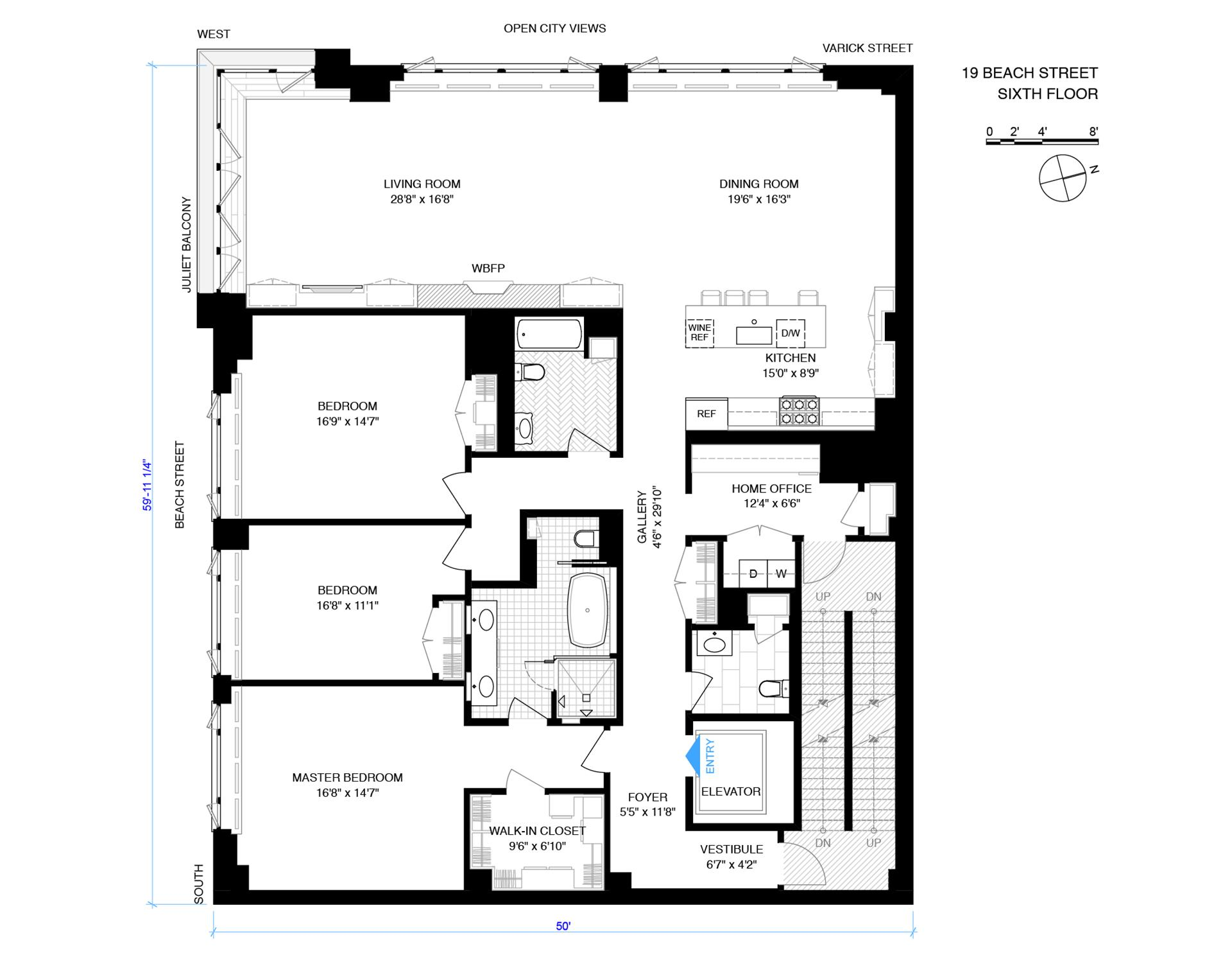 Floor plan of 19 Beach St, 6 - TriBeCa, New York