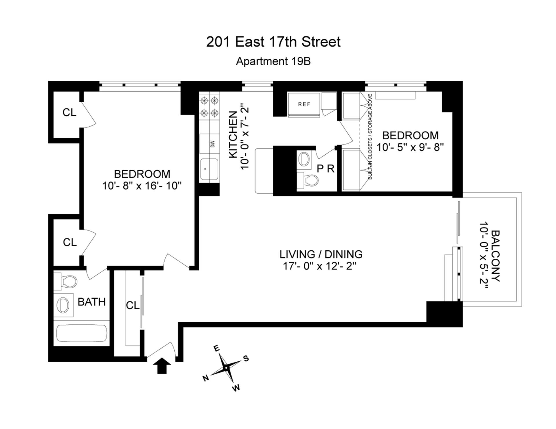 Floor plan of 201 East 17th St, 19B - Gramercy - Union Square, New York